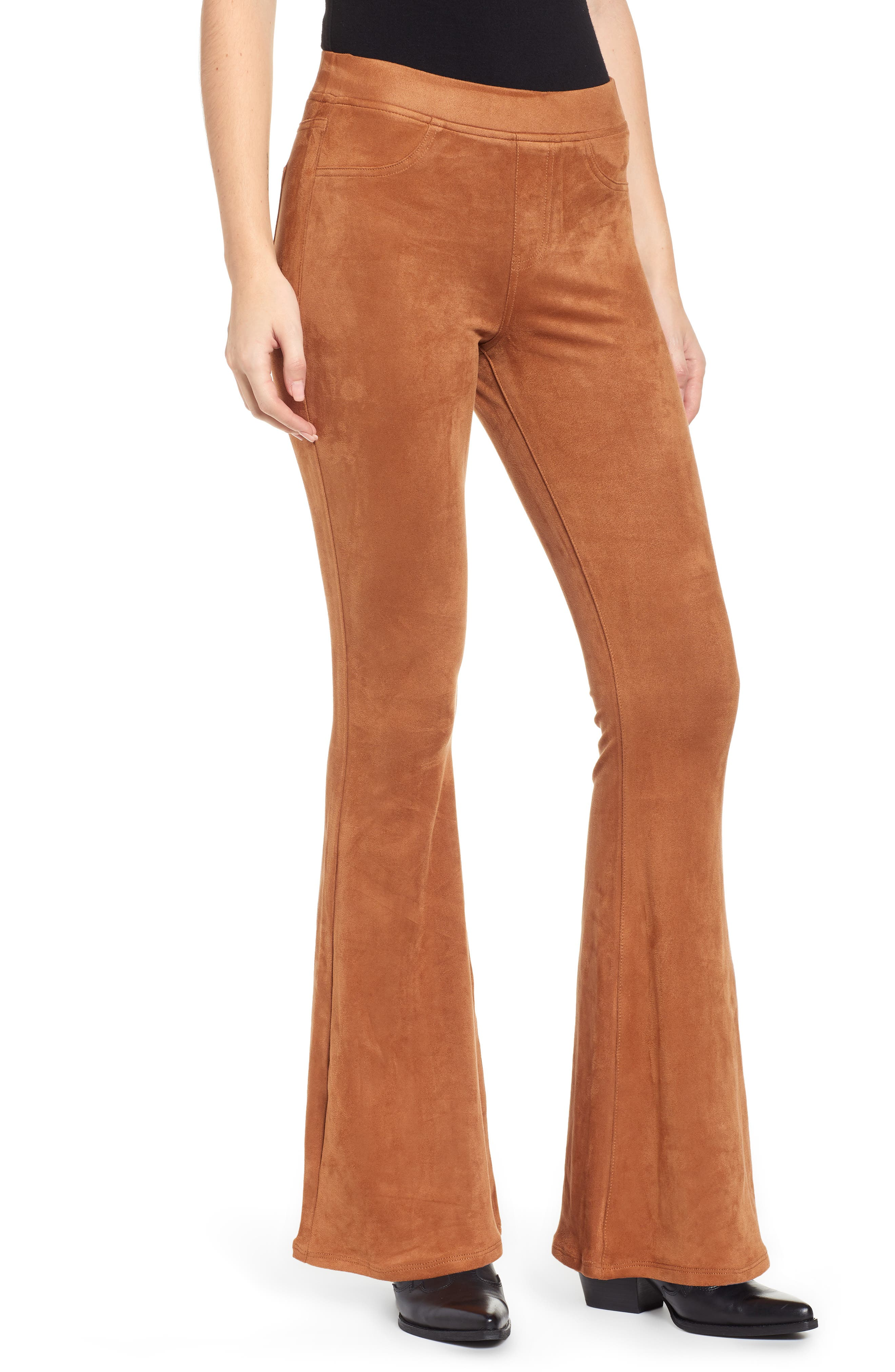 Love, Fire Faux Suede Flare Pants