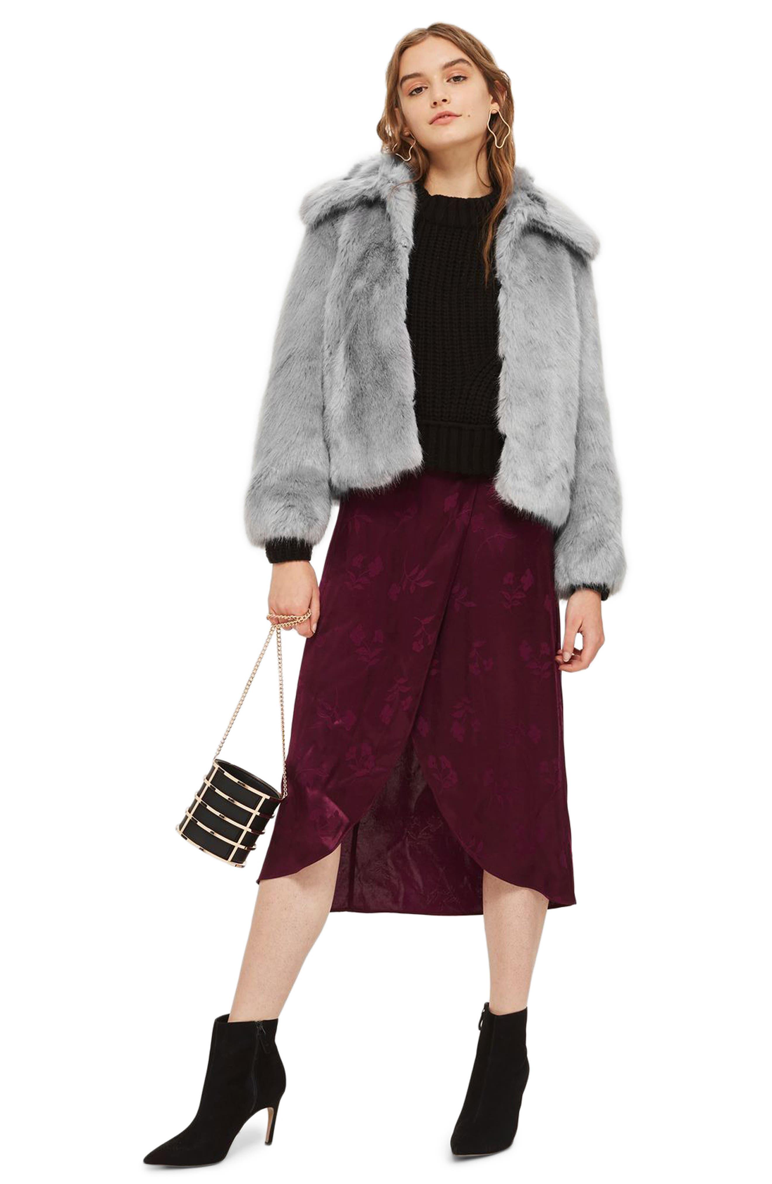 Claire Faux Fur Coat,                             Alternate thumbnail 5, color,                             020
