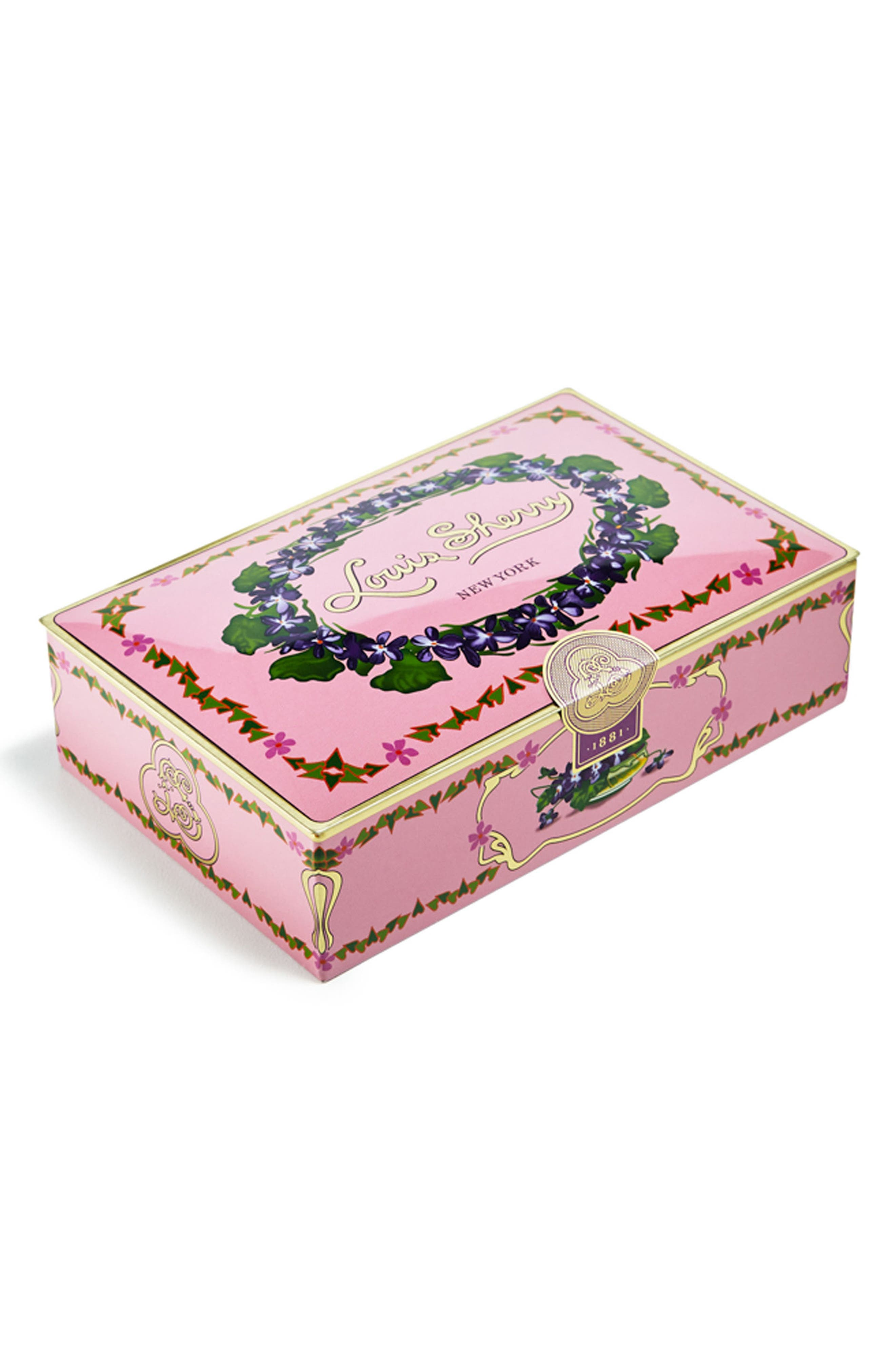Louis Sherry Orchid 12-Piece Chocolate Truffle Tin,                         Main,                         color, PINK WITH CIRCLE OF VIOLETS