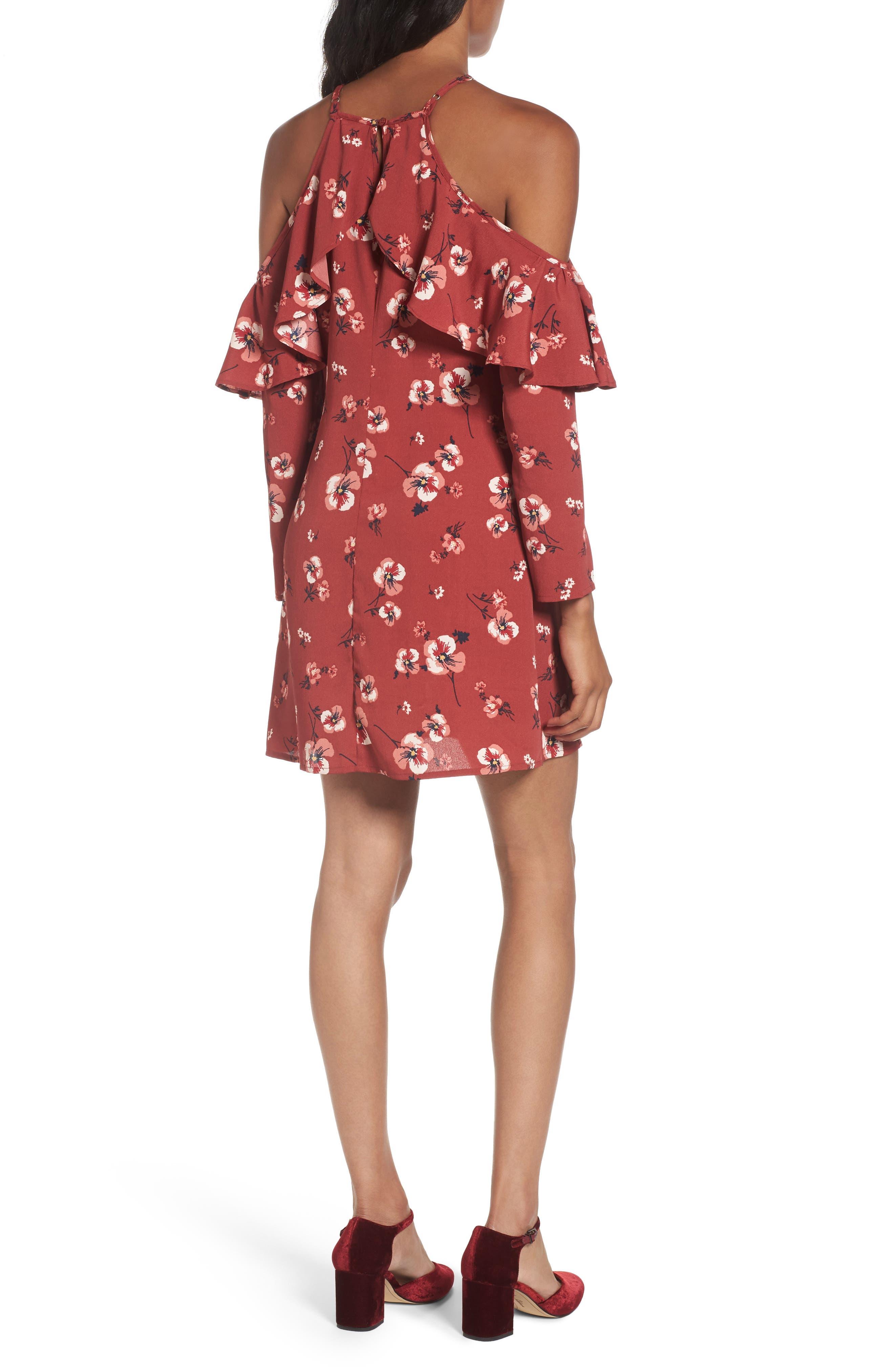 Poppy Print Ruffle Cold Shoulder Dress,                             Alternate thumbnail 2, color,                             600