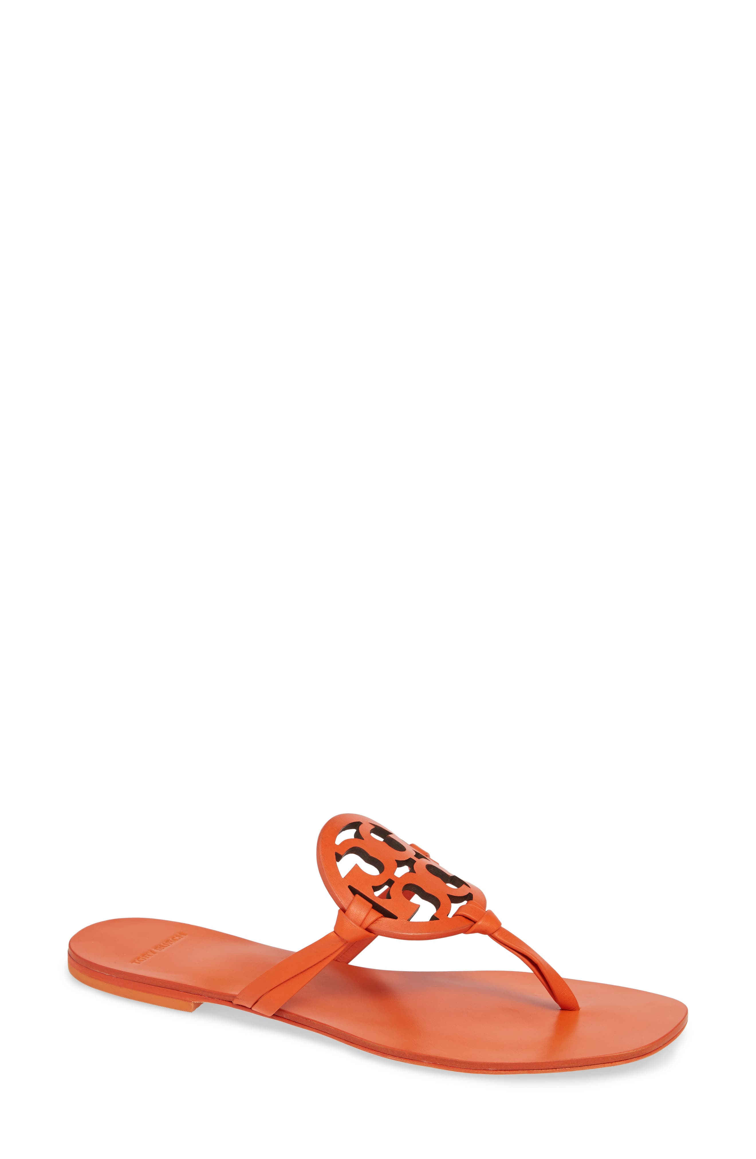 Women'S Miller Square Toe Leather Thong Sandals in Sweet Tangerine