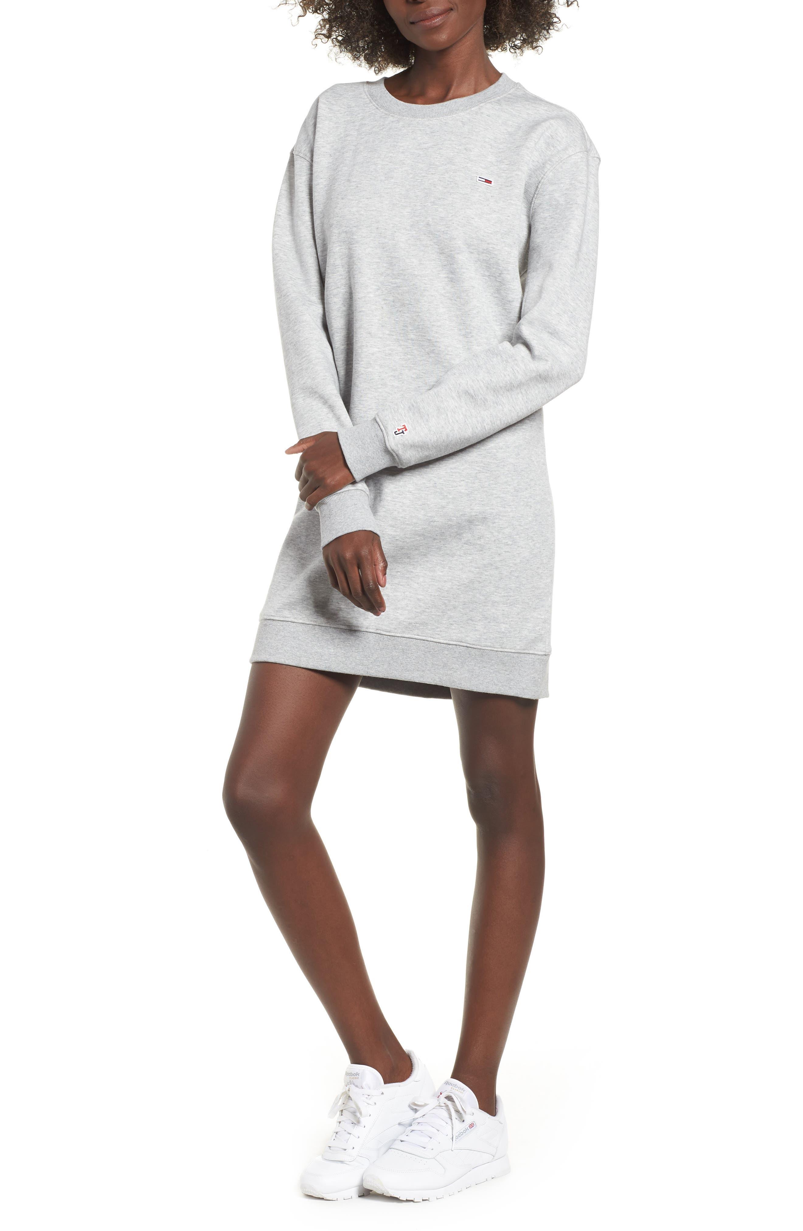Classic Sweatshirt Dress,                         Main,                         color, LT GREY HEATHER