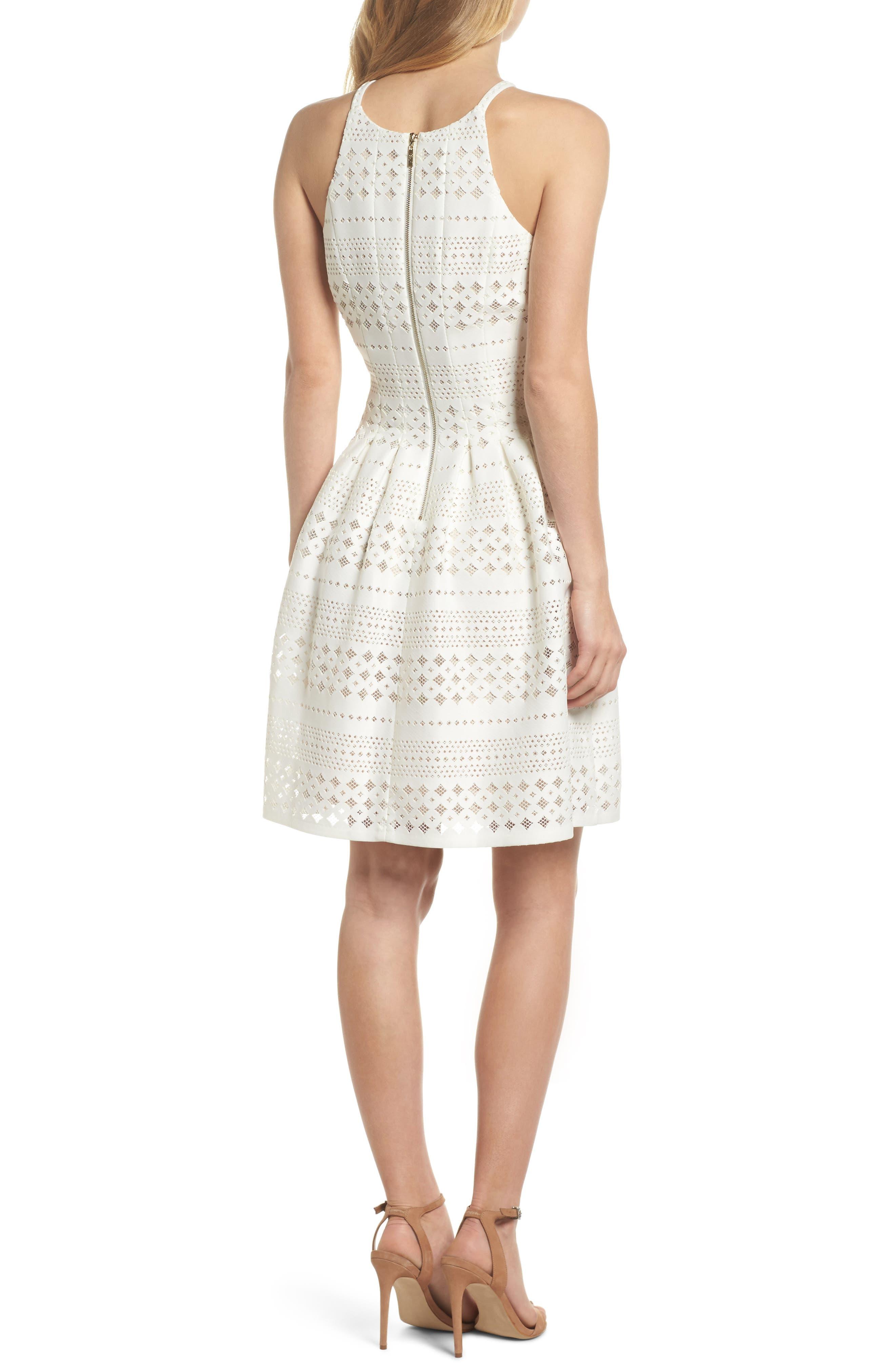 Laser Cut Fit & Flare Halter Dress,                             Alternate thumbnail 6, color,