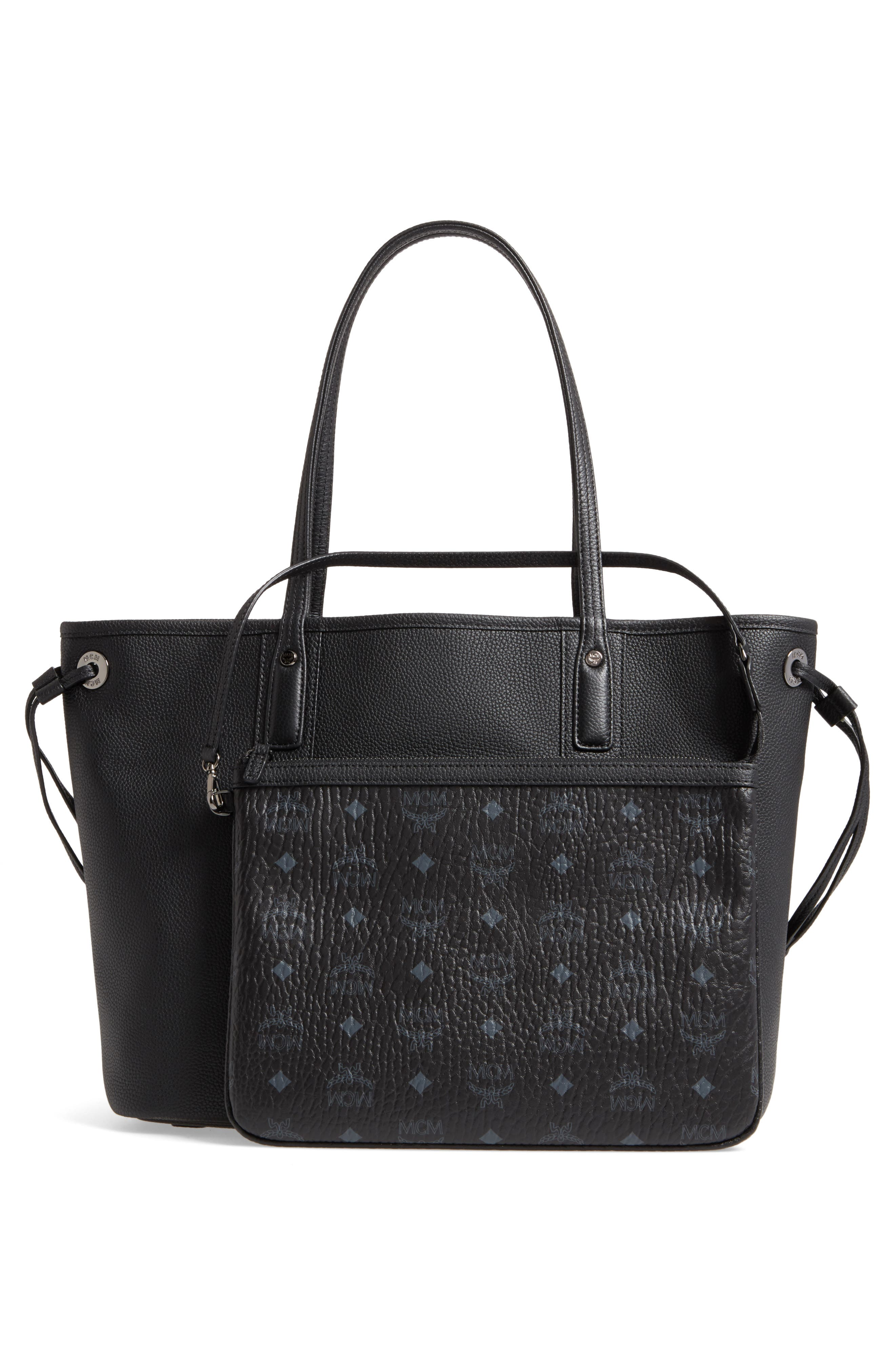 Medium Liz Reversible Visetos Leather Shopper,                             Alternate thumbnail 4, color,                             BLACK
