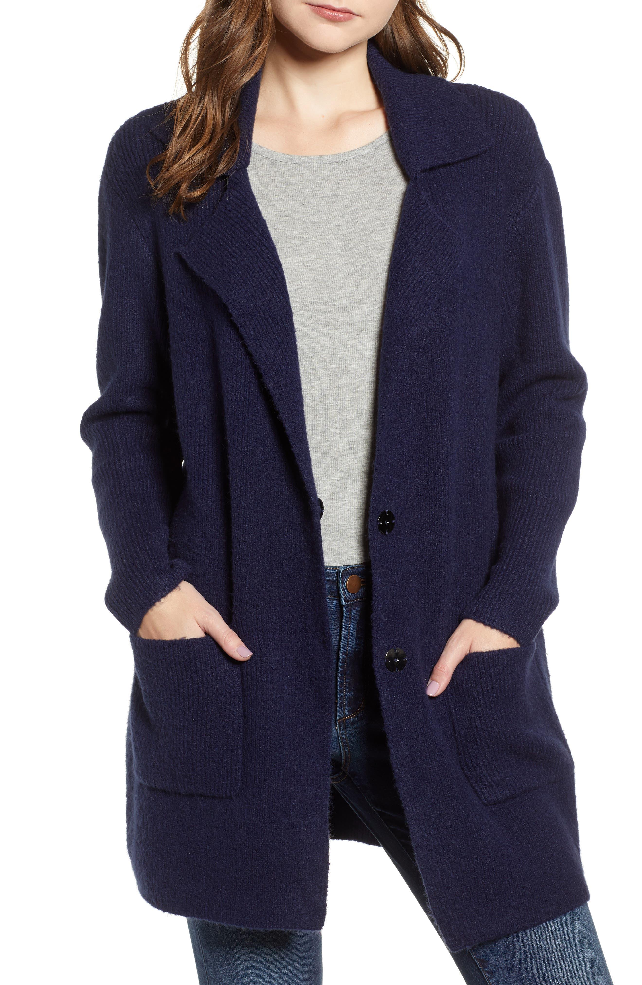 Knit Sweater Coat,                             Main thumbnail 1, color,                             NAVY MARITIME