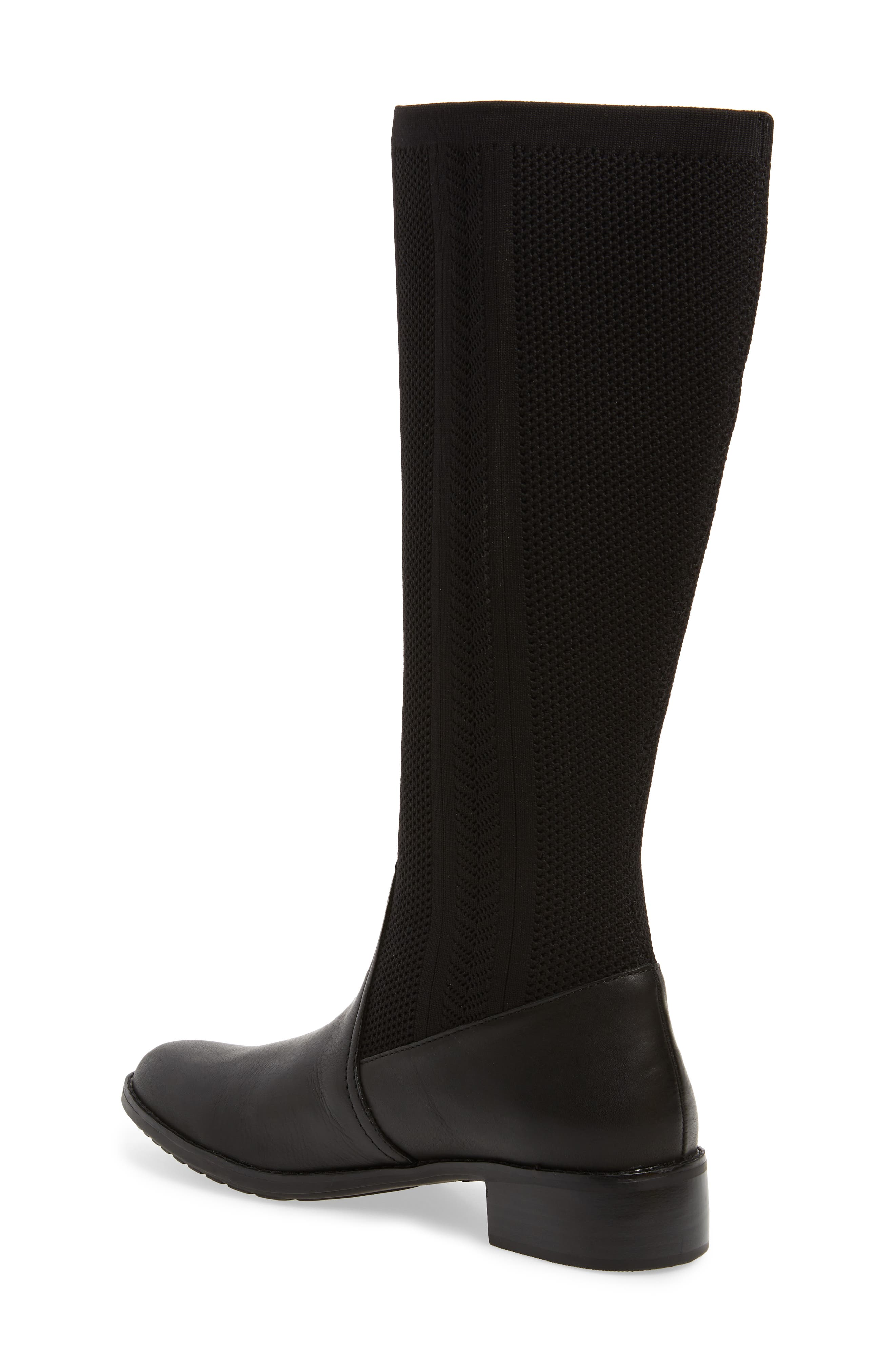 Belle Sock Knit Shaft Boot,                             Alternate thumbnail 2, color,                             BLACK LEATHER