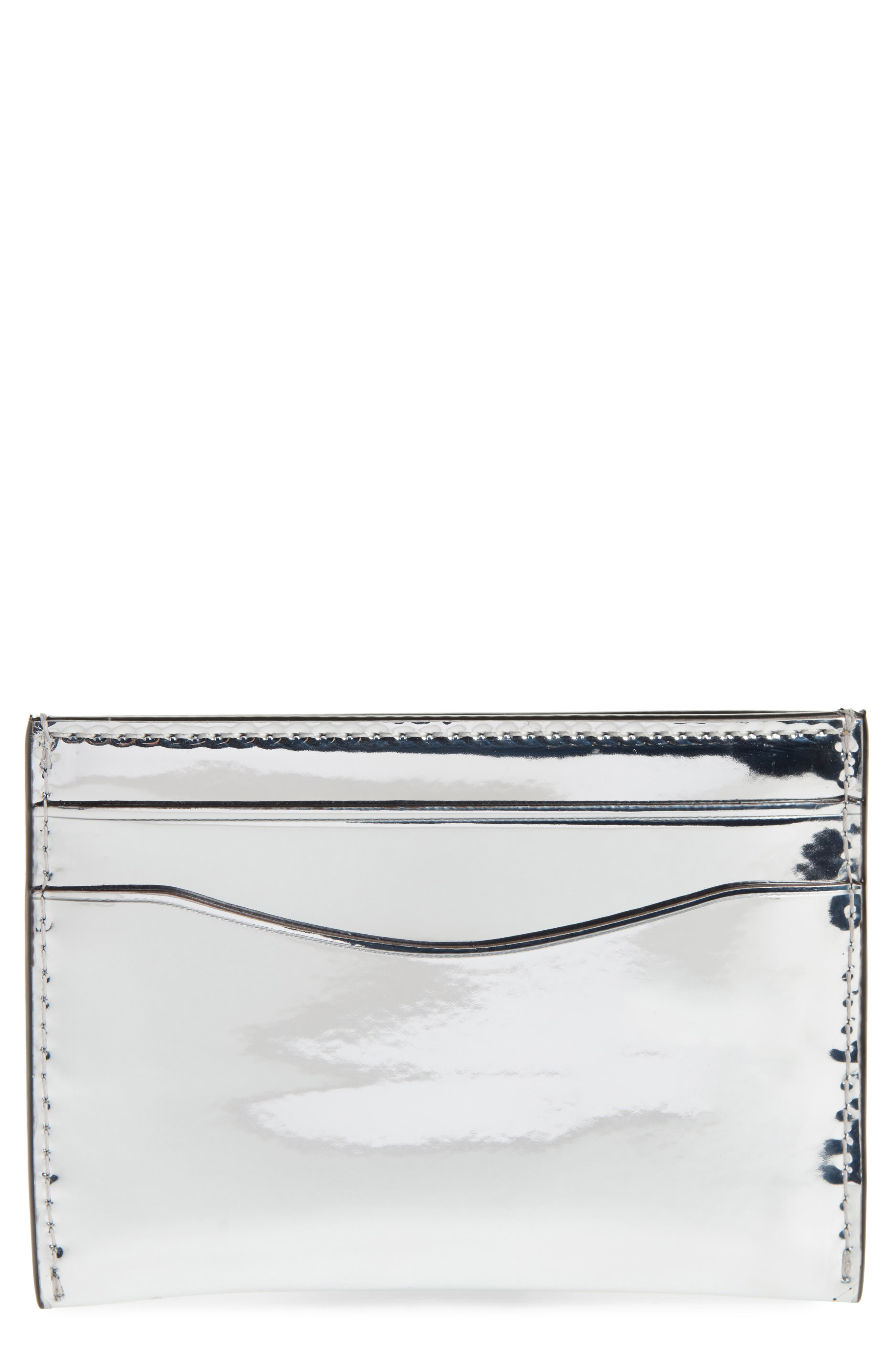 Leather Card Case,                         Main,                         color, SILVER
