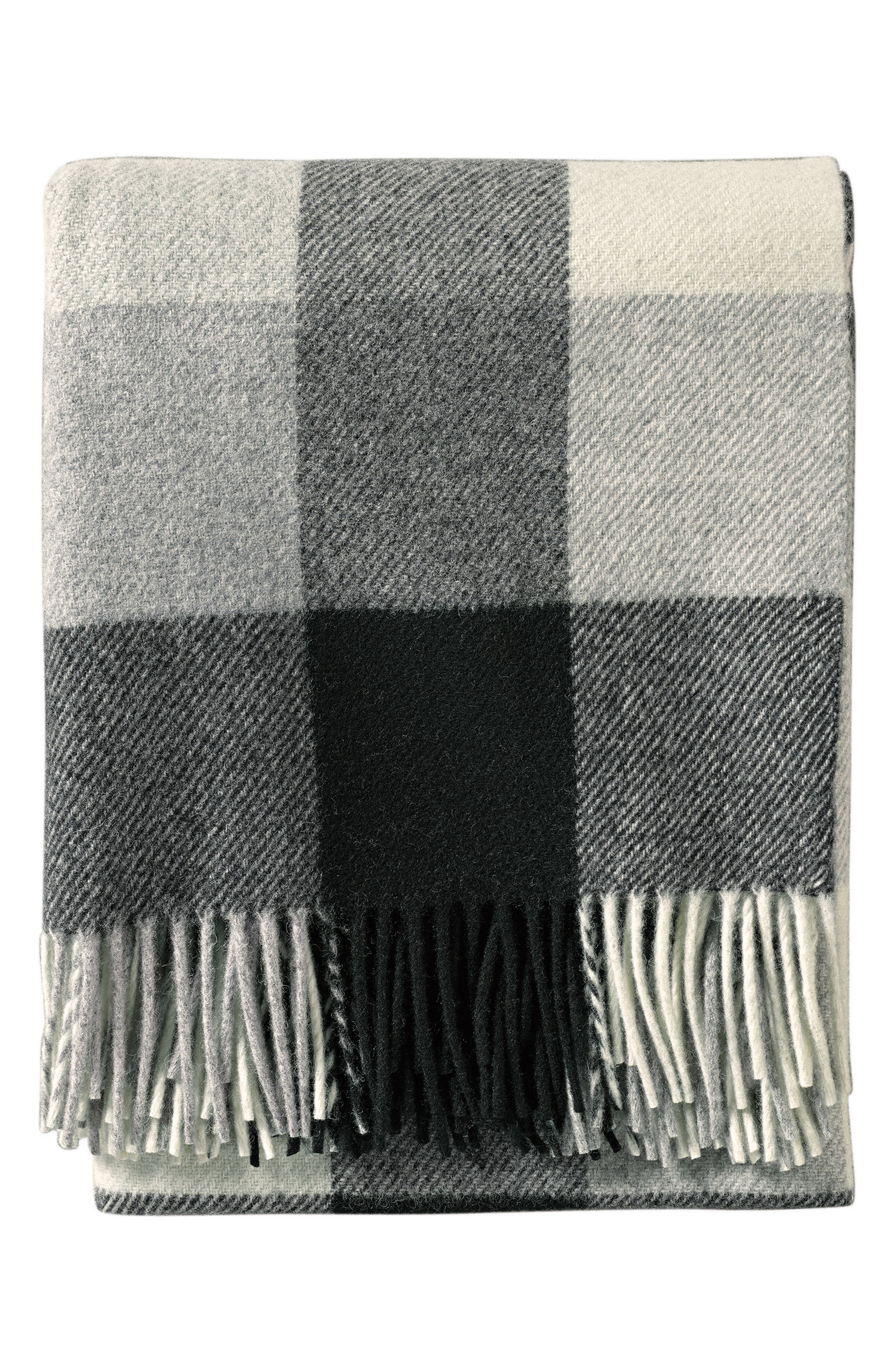 Plaid Washable Wool Throw,                             Main thumbnail 1, color,                             BLACK/ IVORY