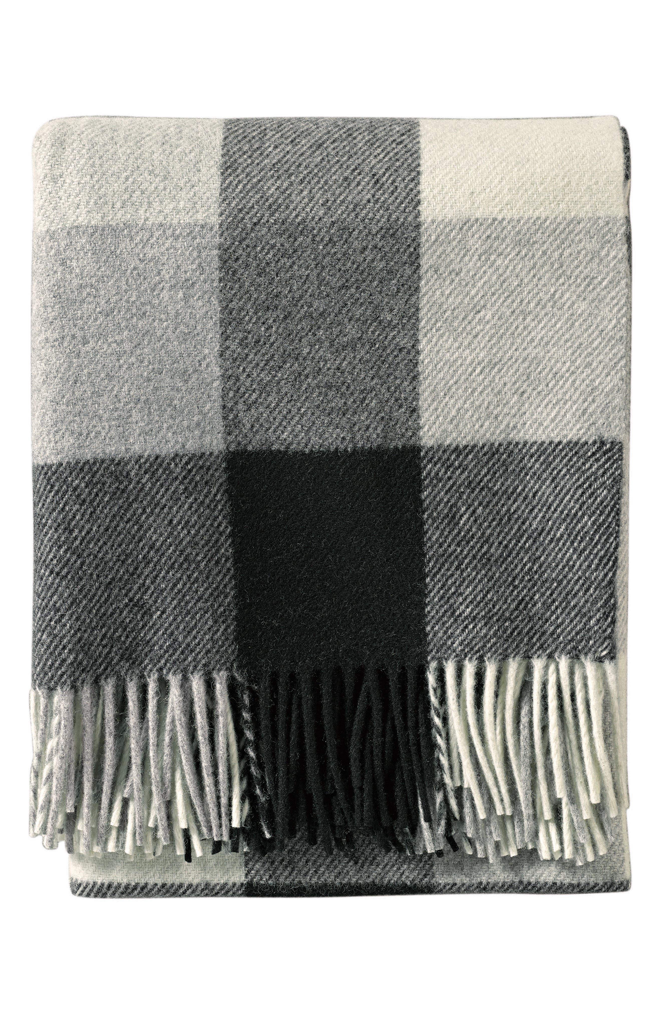 Plaid Washable Wool Throw,                         Main,                         color, BLACK/ IVORY