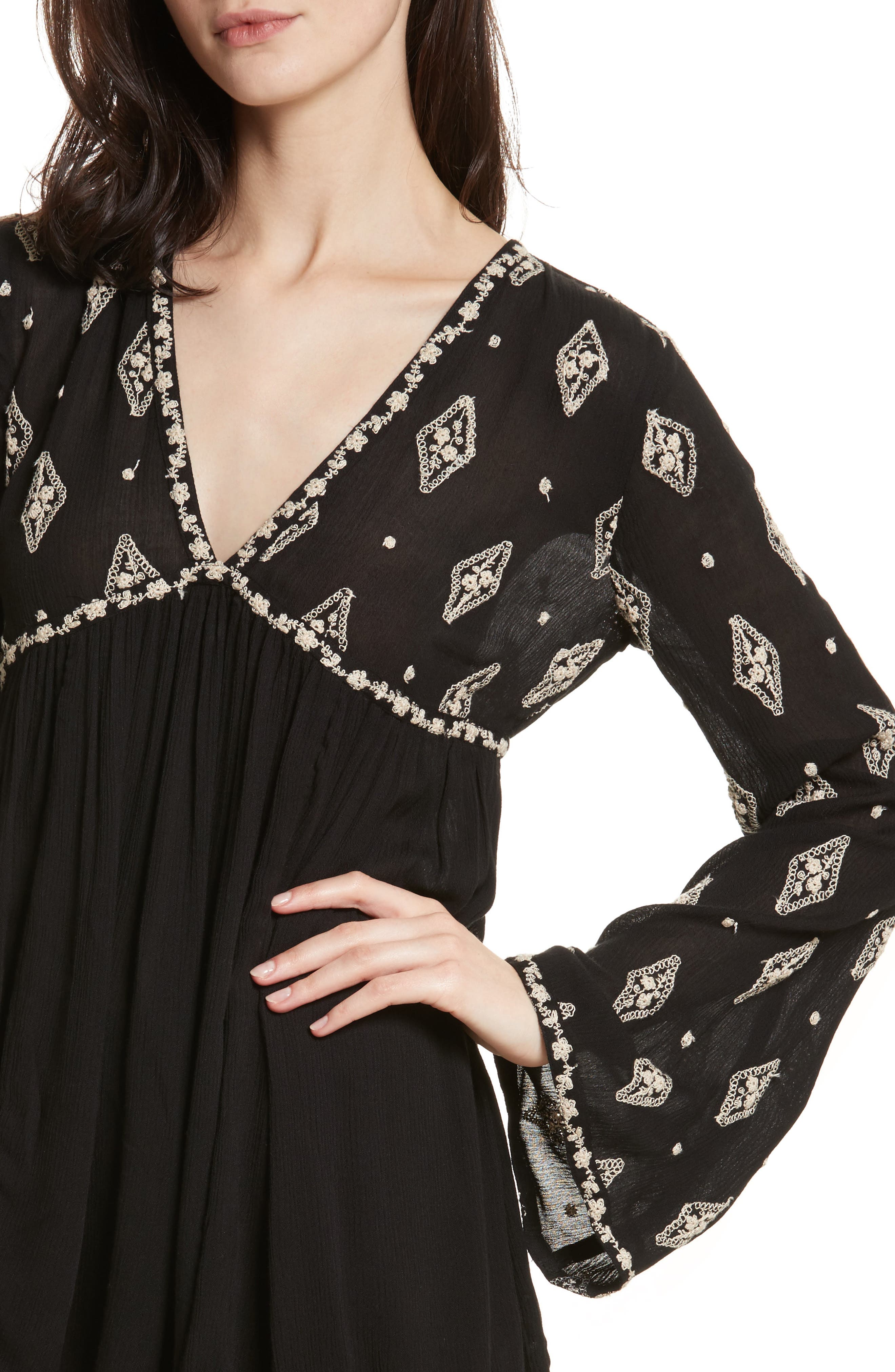 Embroidered Bell Sleeve Top,                             Alternate thumbnail 19, color,