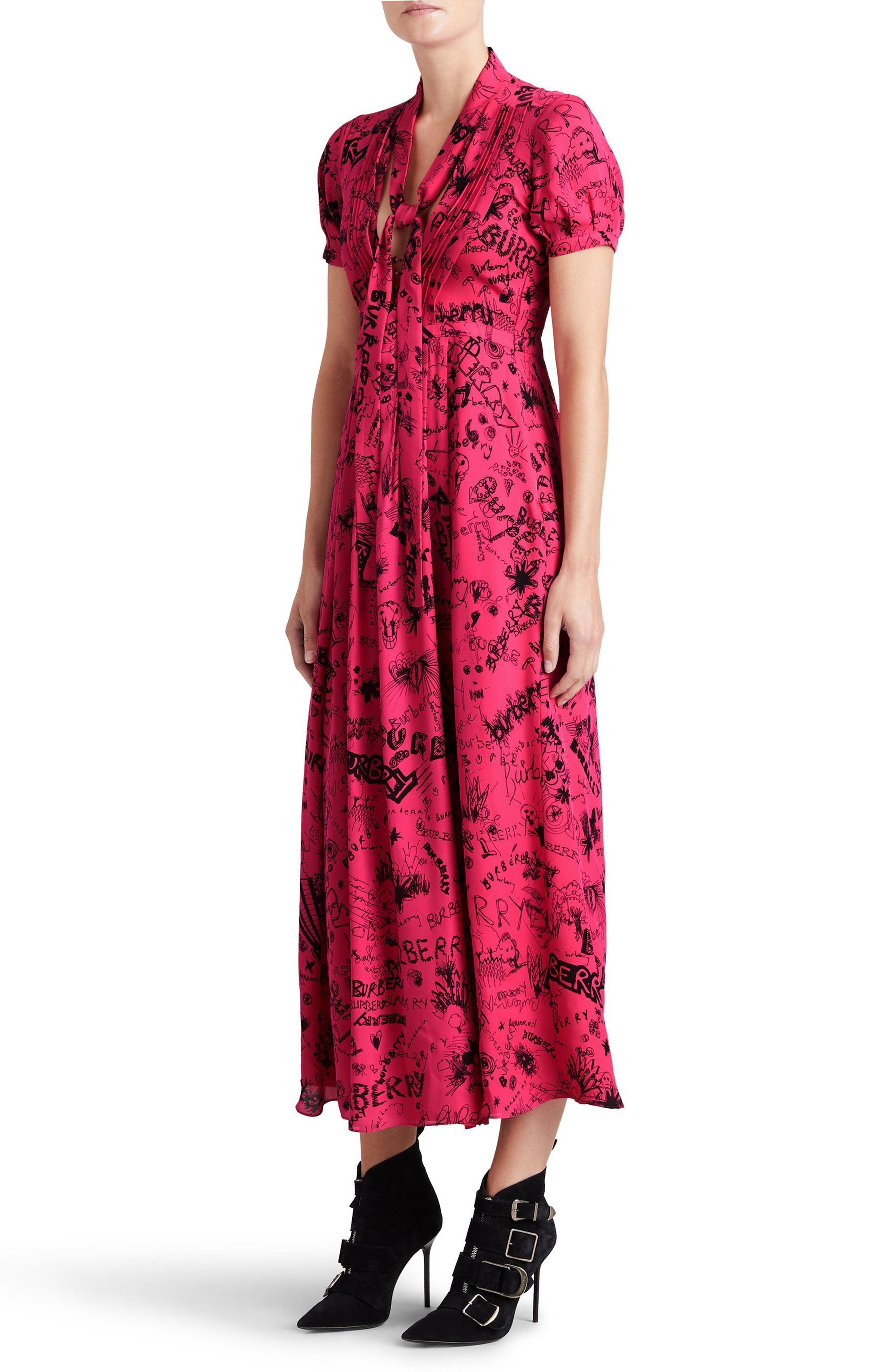 Antonina Doodle Print Silk Midi Dress,                             Alternate thumbnail 3, color,                             671