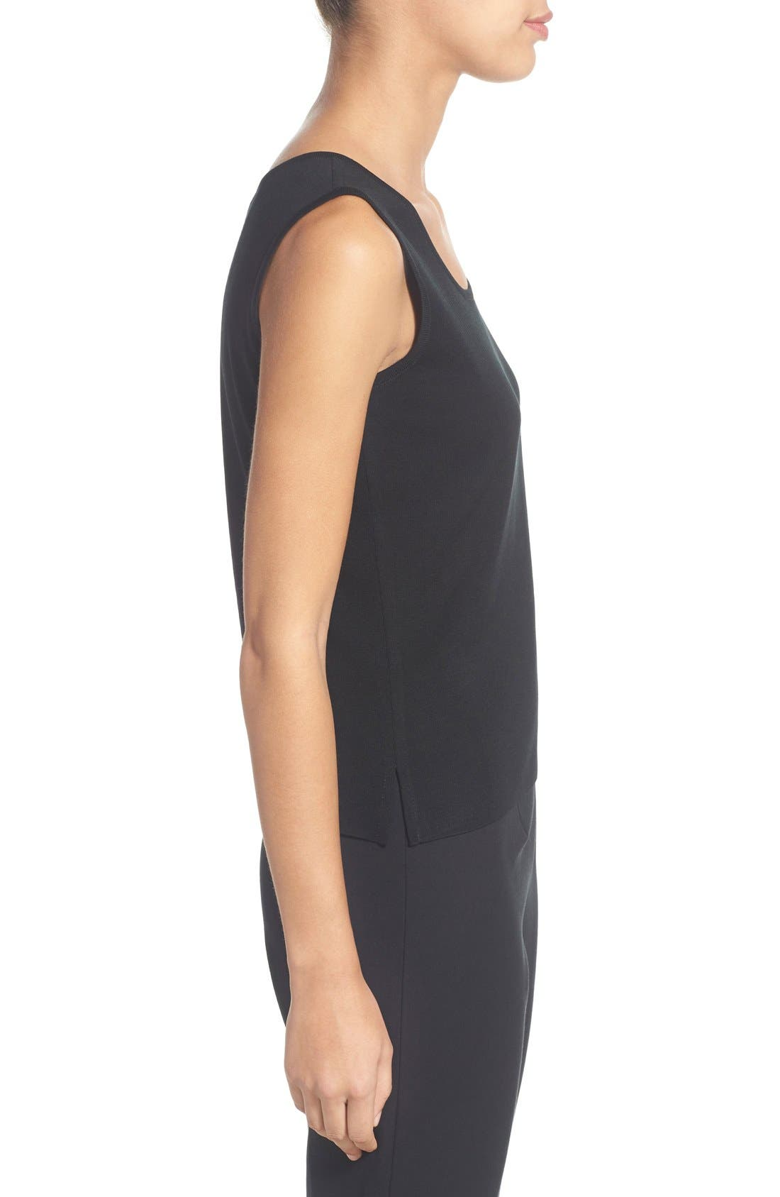 Scoop Neck Tank,                             Alternate thumbnail 3, color,                             BLACK