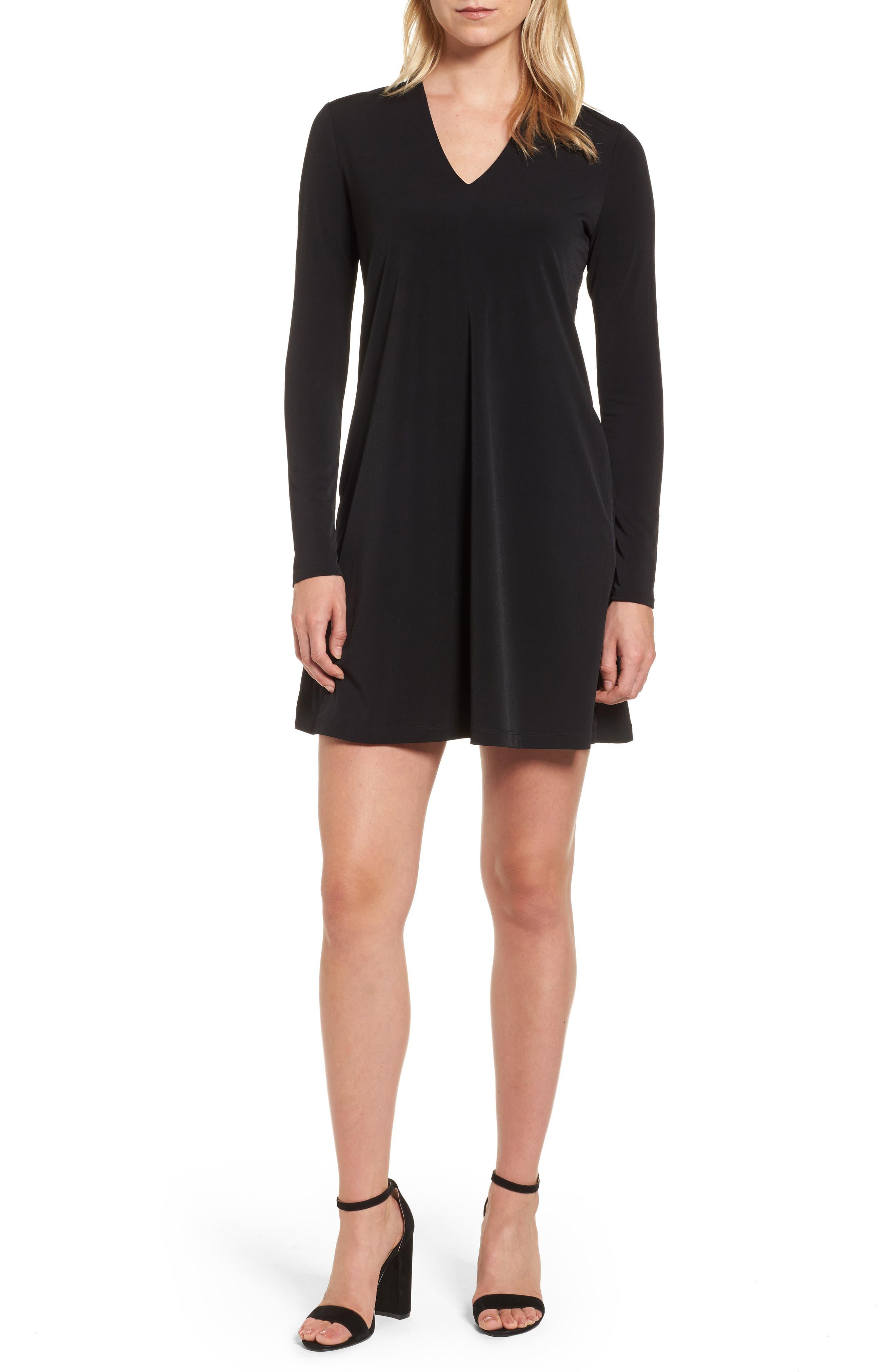 V-Neck A-Line Dress,                         Main,                         color, 001
