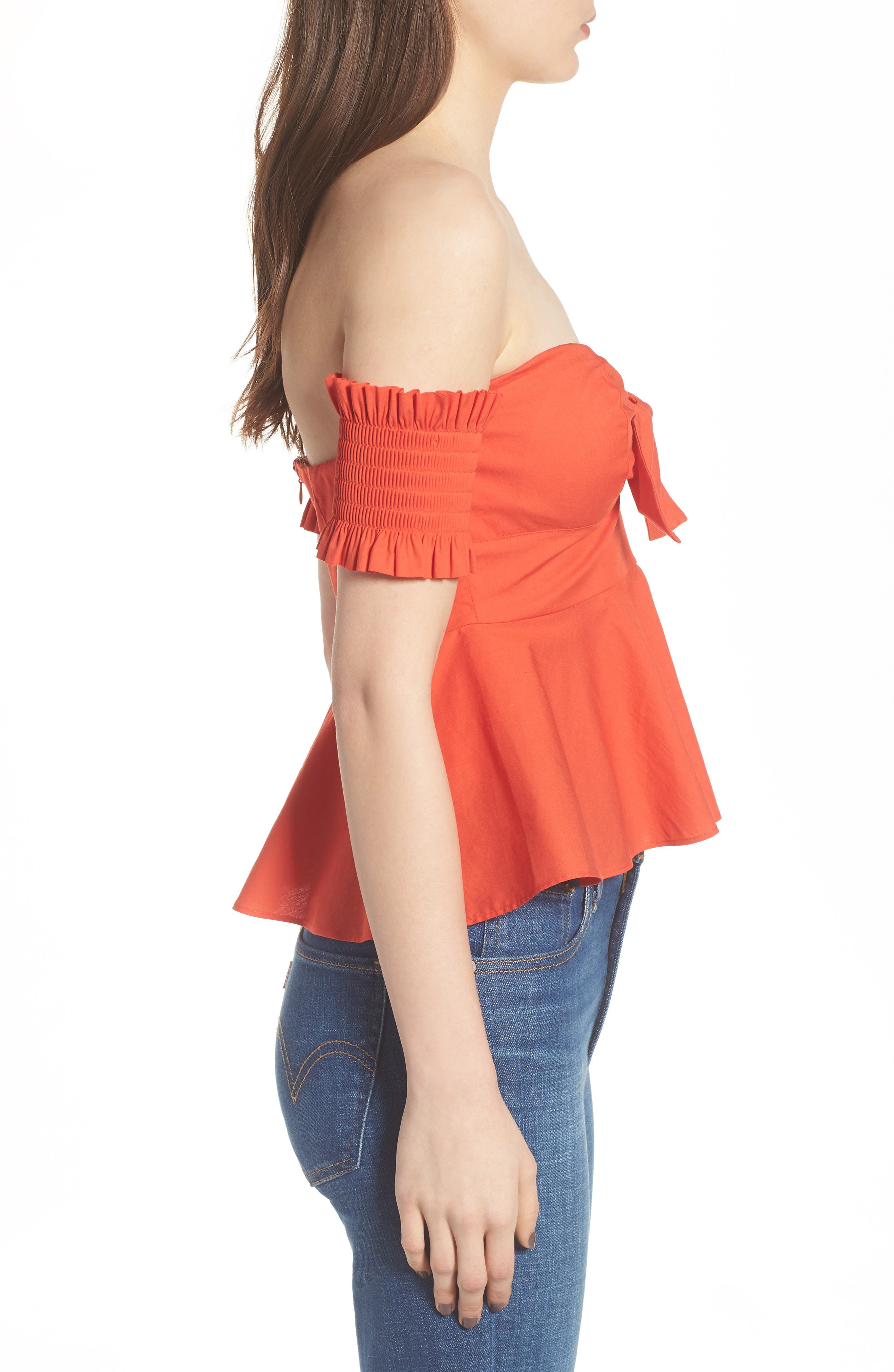 Smocked Off the Shoulder Top,                             Alternate thumbnail 7, color,
