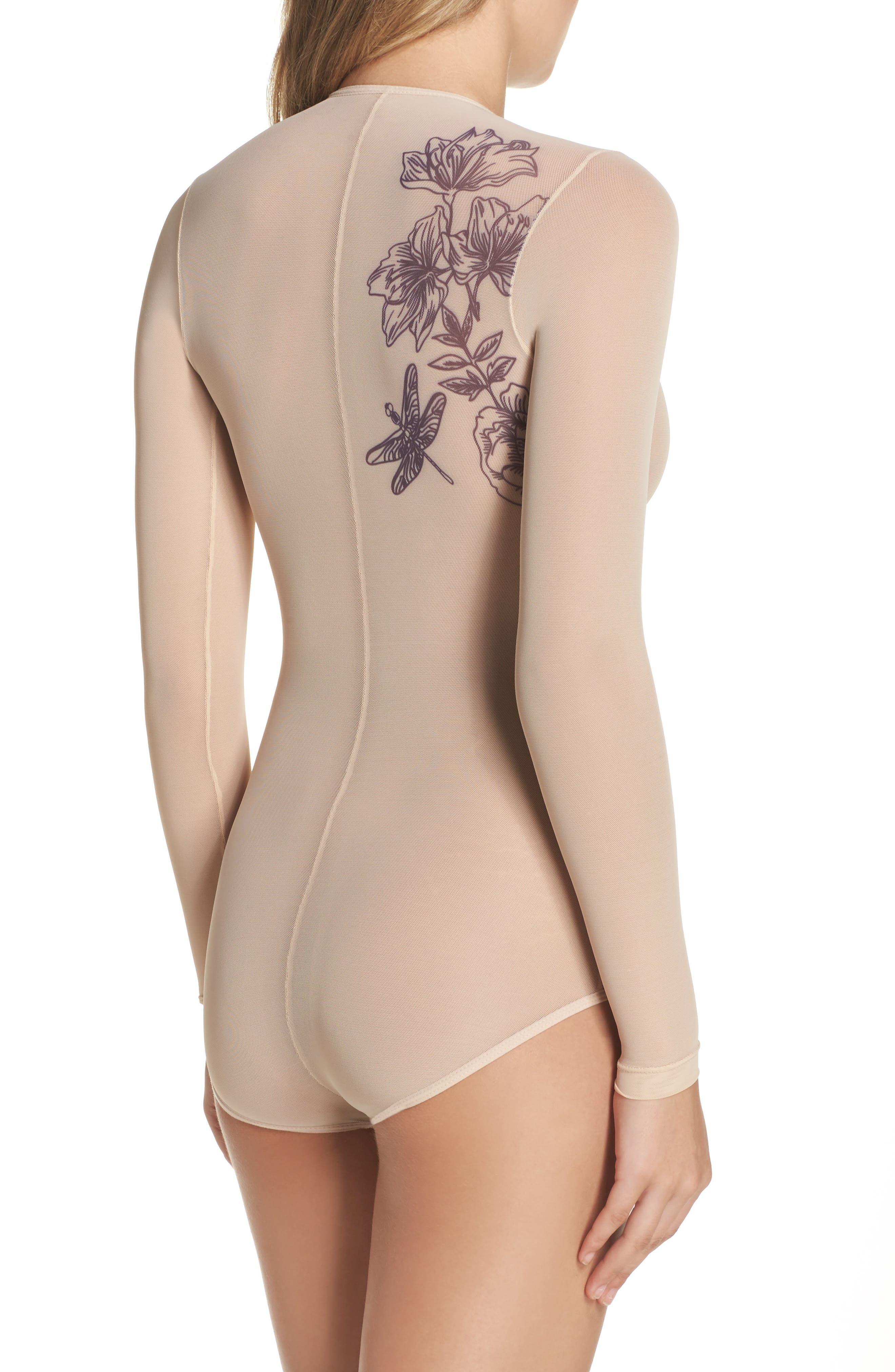Stephanie Sparrow Mesh Bodysuit,                             Alternate thumbnail 2, color,
