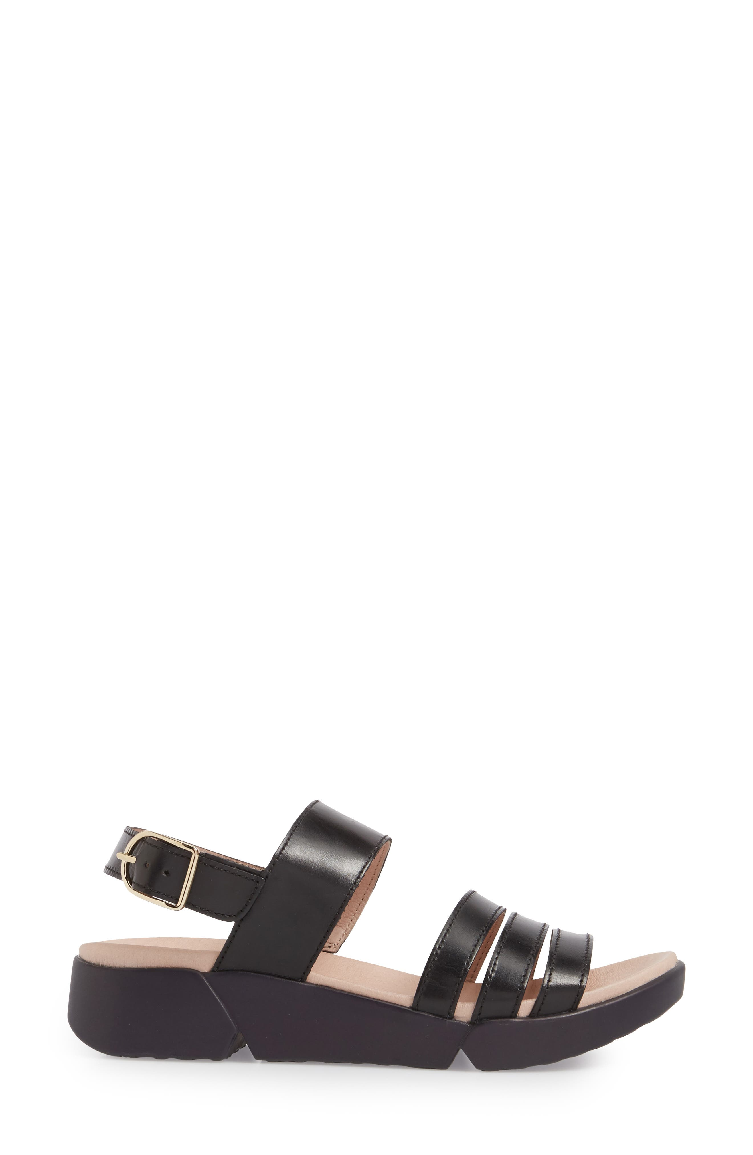 A-8004 Sandal,                             Alternate thumbnail 3, color,                             BLACK LEATHER