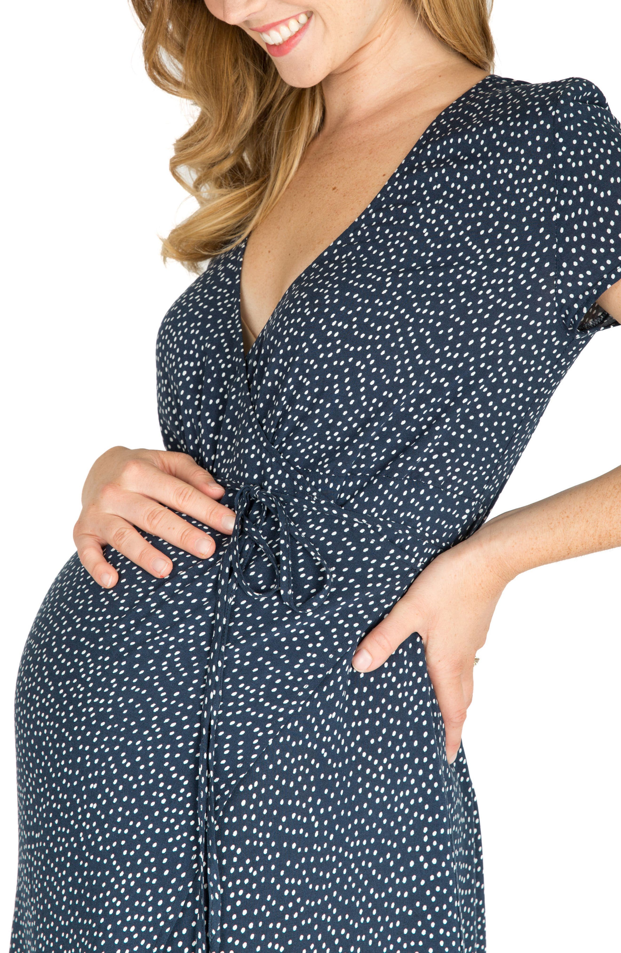 Delilah Maternity/Nursing Wrap Maxi Dress,                             Alternate thumbnail 4, color,                             NAVY DOT