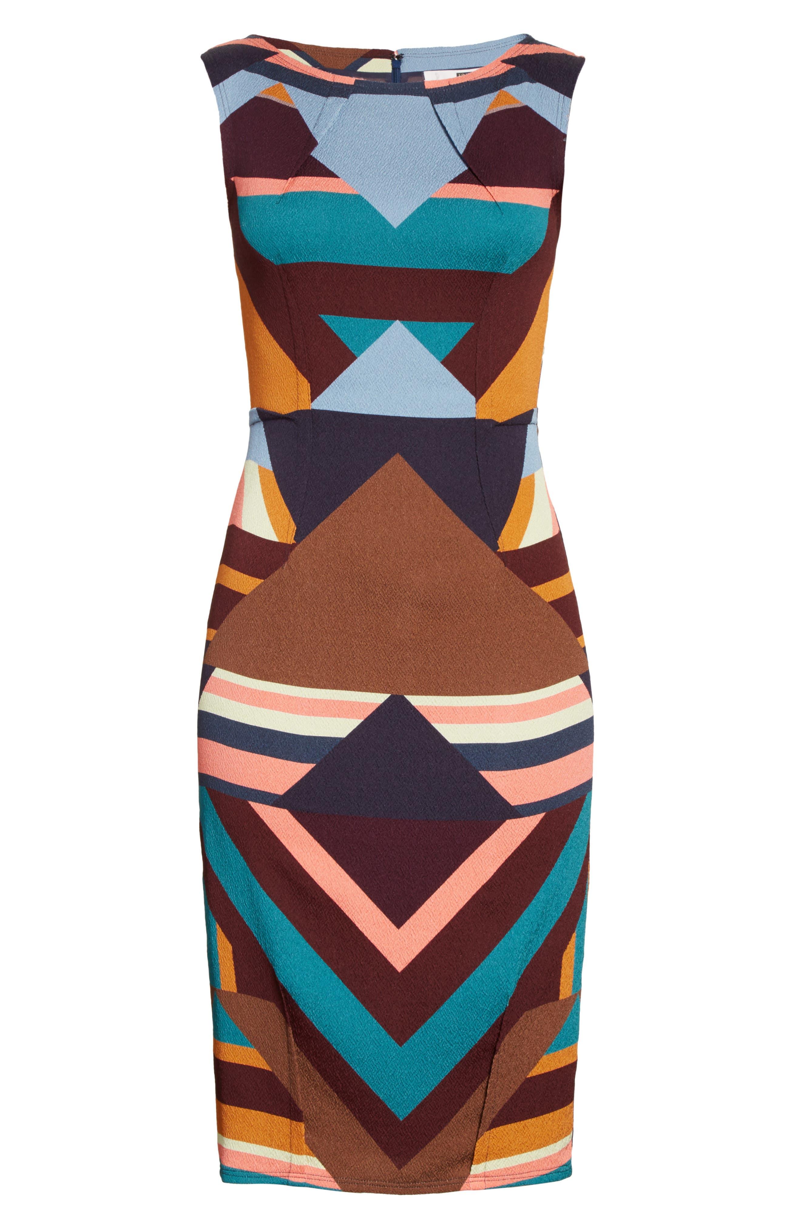 Print Stretch Silk Sheath Dress,                             Alternate thumbnail 6, color,                             244