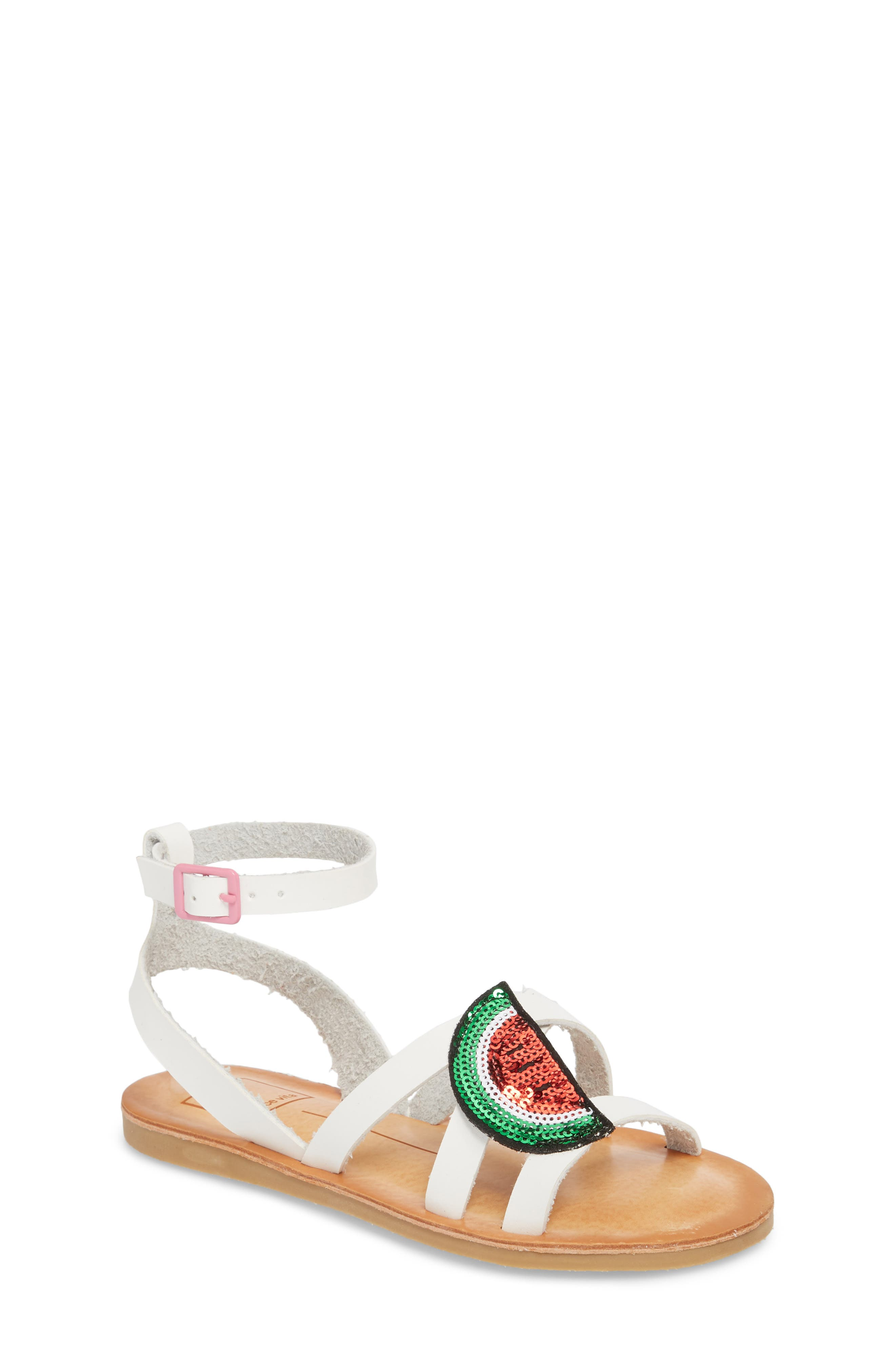 Jaclin Fruit Sequined Sandal,                         Main,                         color, 100