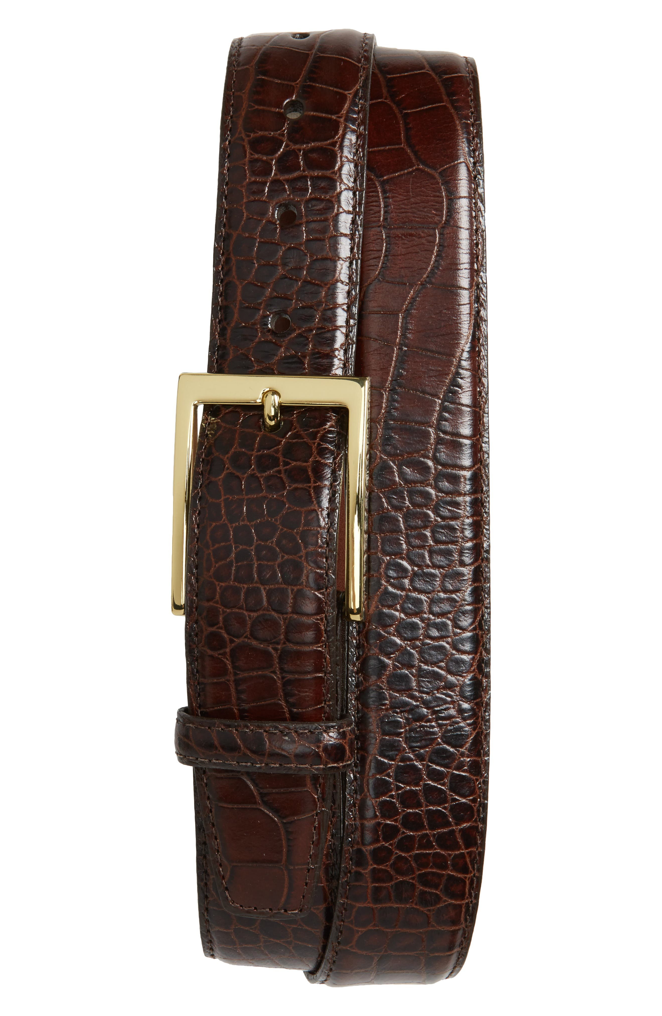 Gator Grain Embossed Leather Belt,                             Alternate thumbnail 2, color,                             BROWN