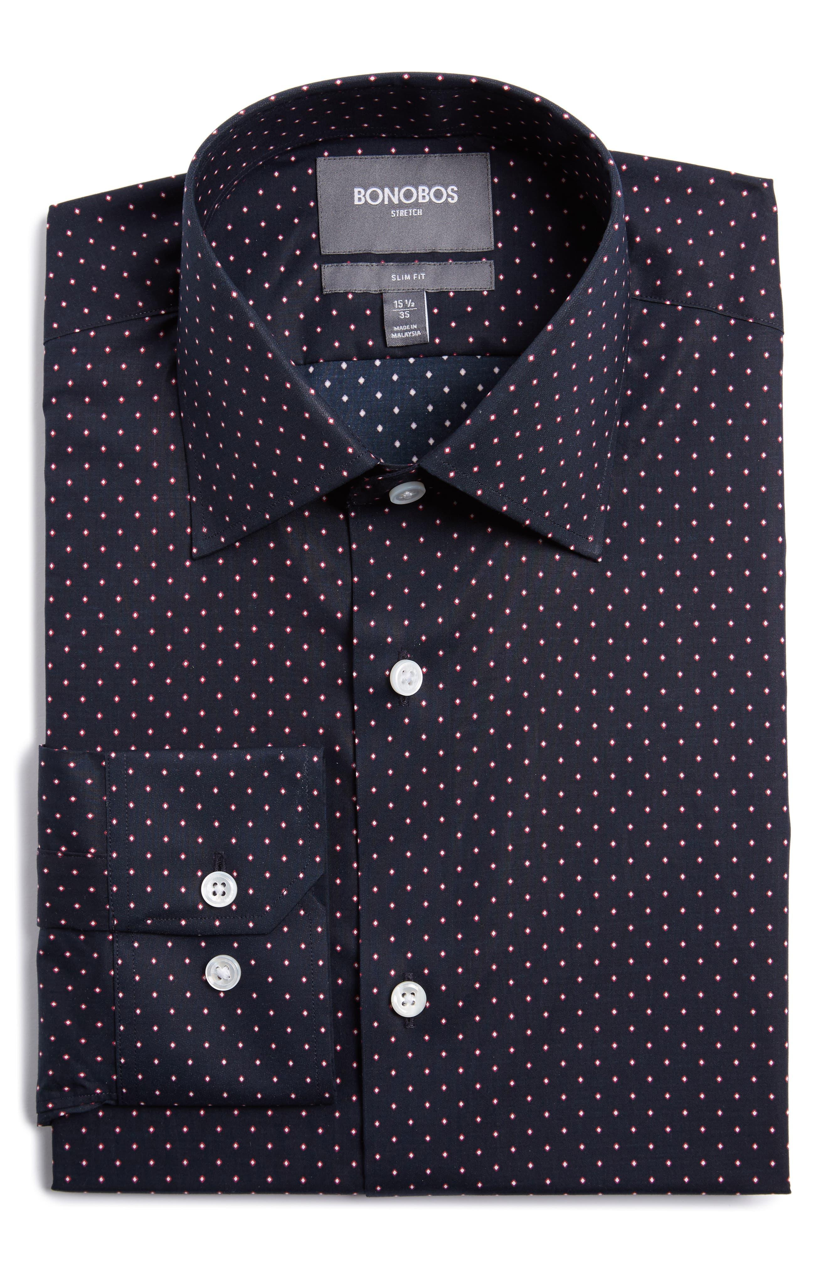 Slim Fit Dot Dress Shirt,                             Main thumbnail 1, color,                             400