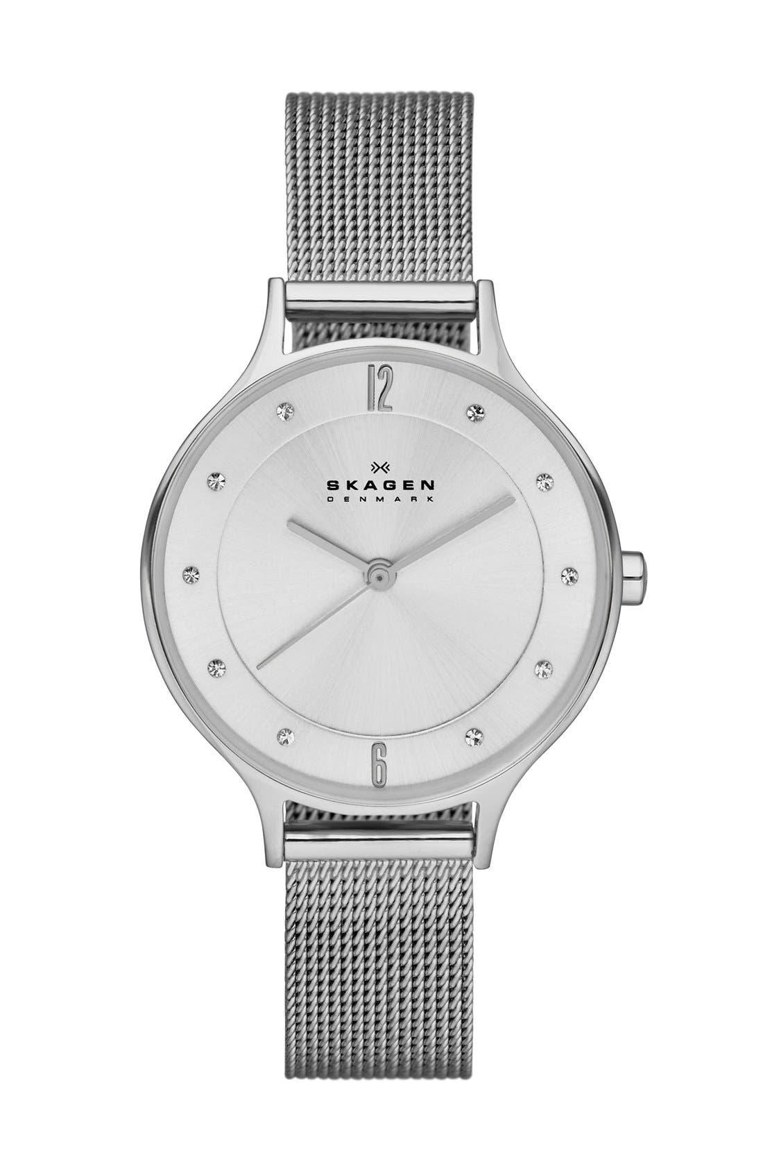 'Anita' Crystal Index Mesh Strap Watch, 30mm,                             Main thumbnail 1, color,                             SILVER