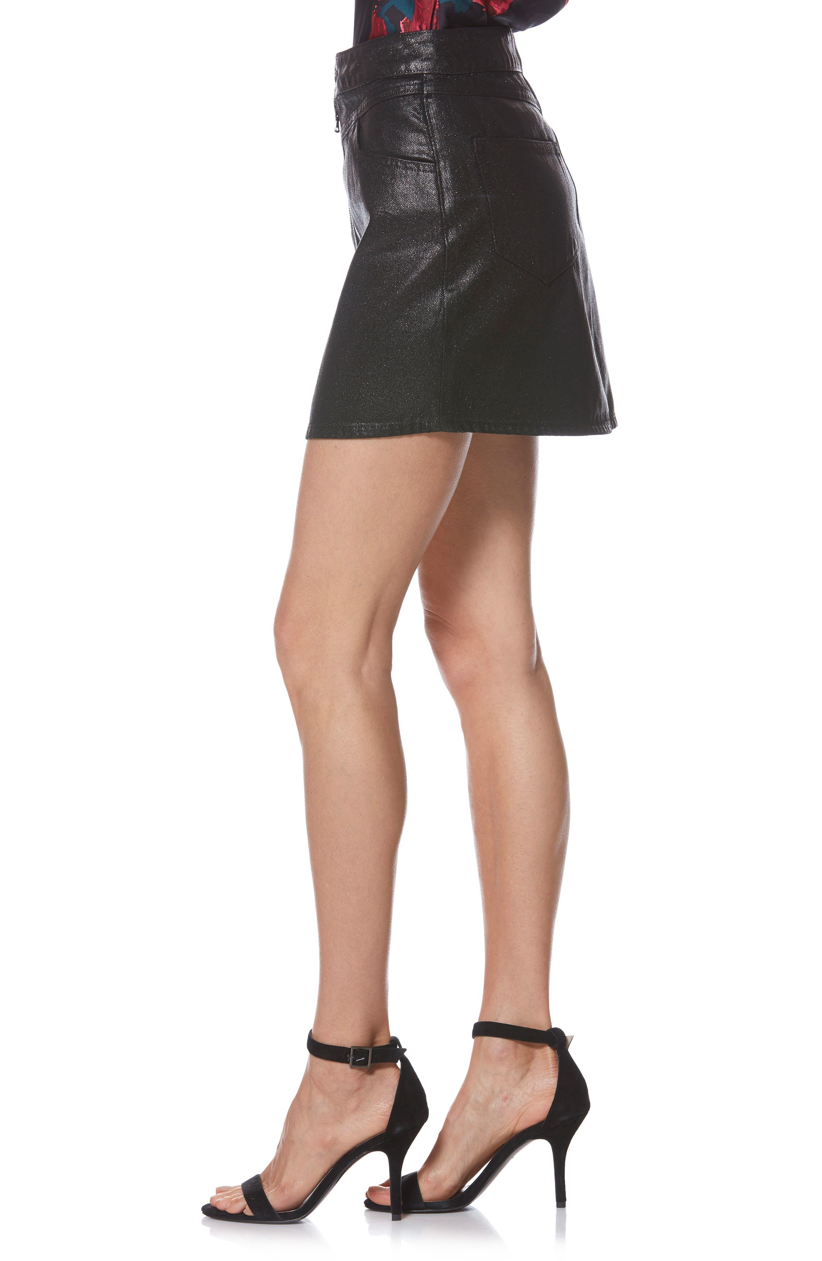 Jamine Zip Front Skirt,                             Alternate thumbnail 3, color,                             SPARKLE COATING