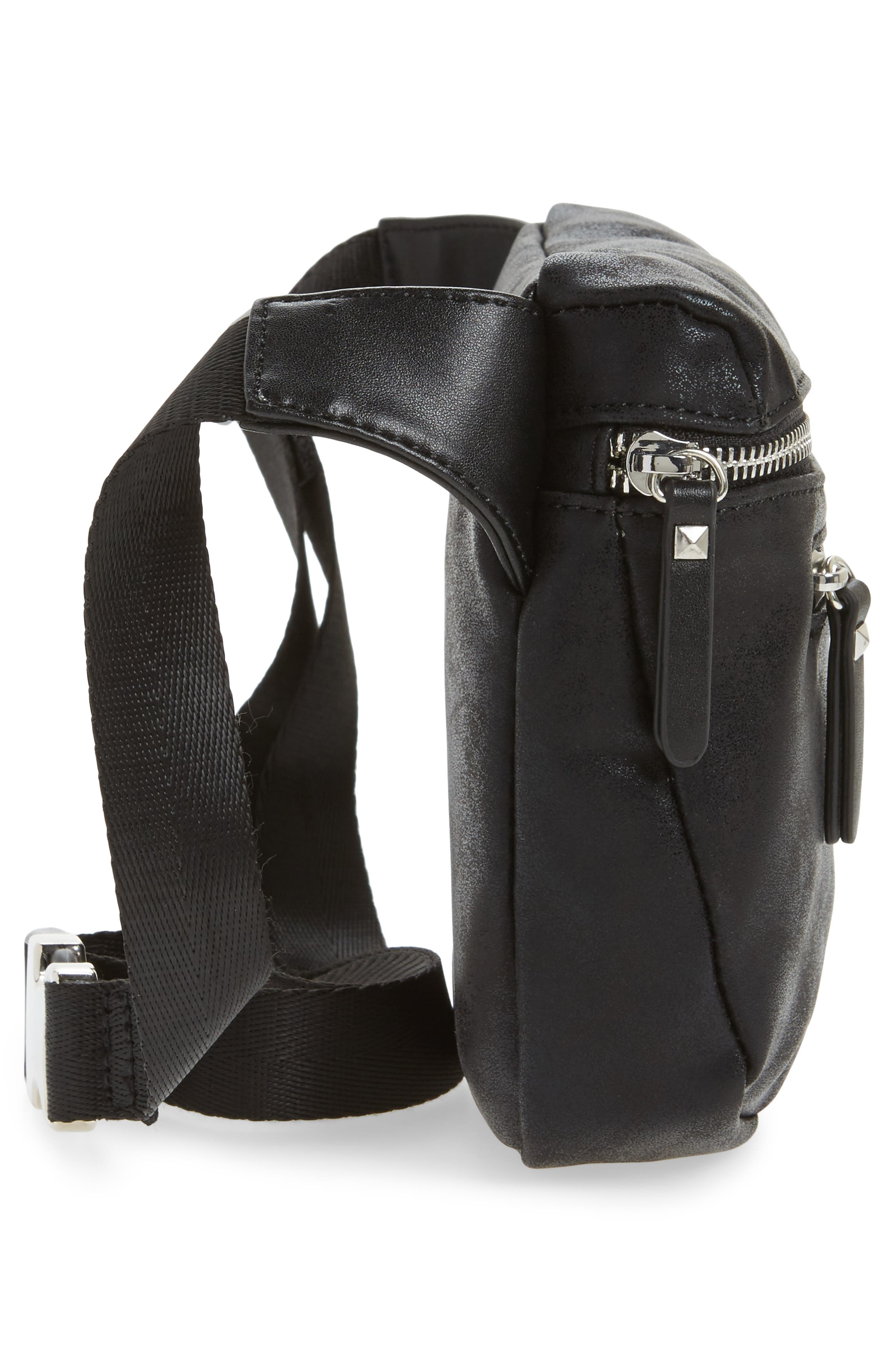 Cara Faux Leather Belt Bag,                             Alternate thumbnail 5, color,                             001