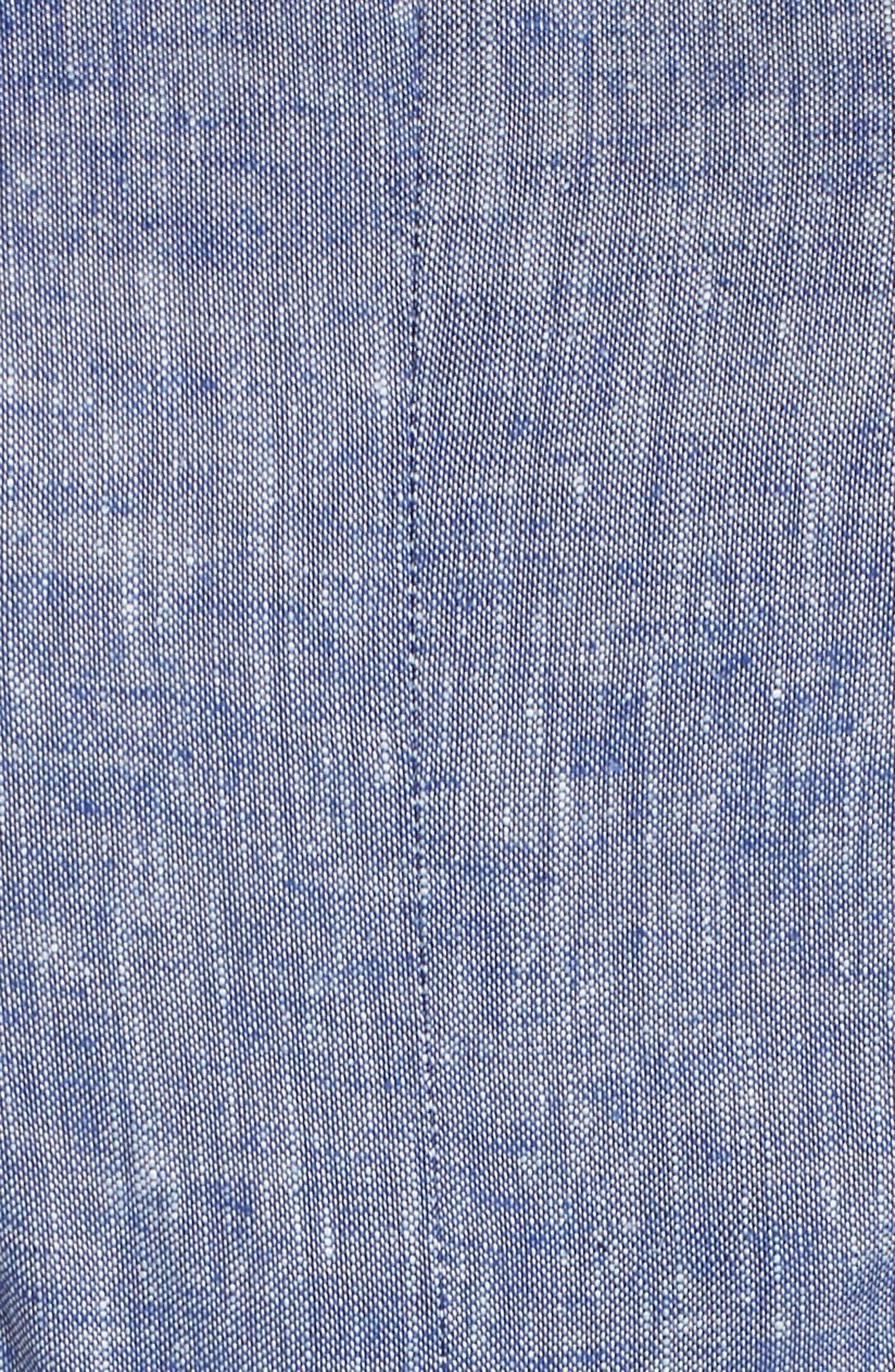 Chambray & Lace Midi Dress,                             Alternate thumbnail 6, color,                             411