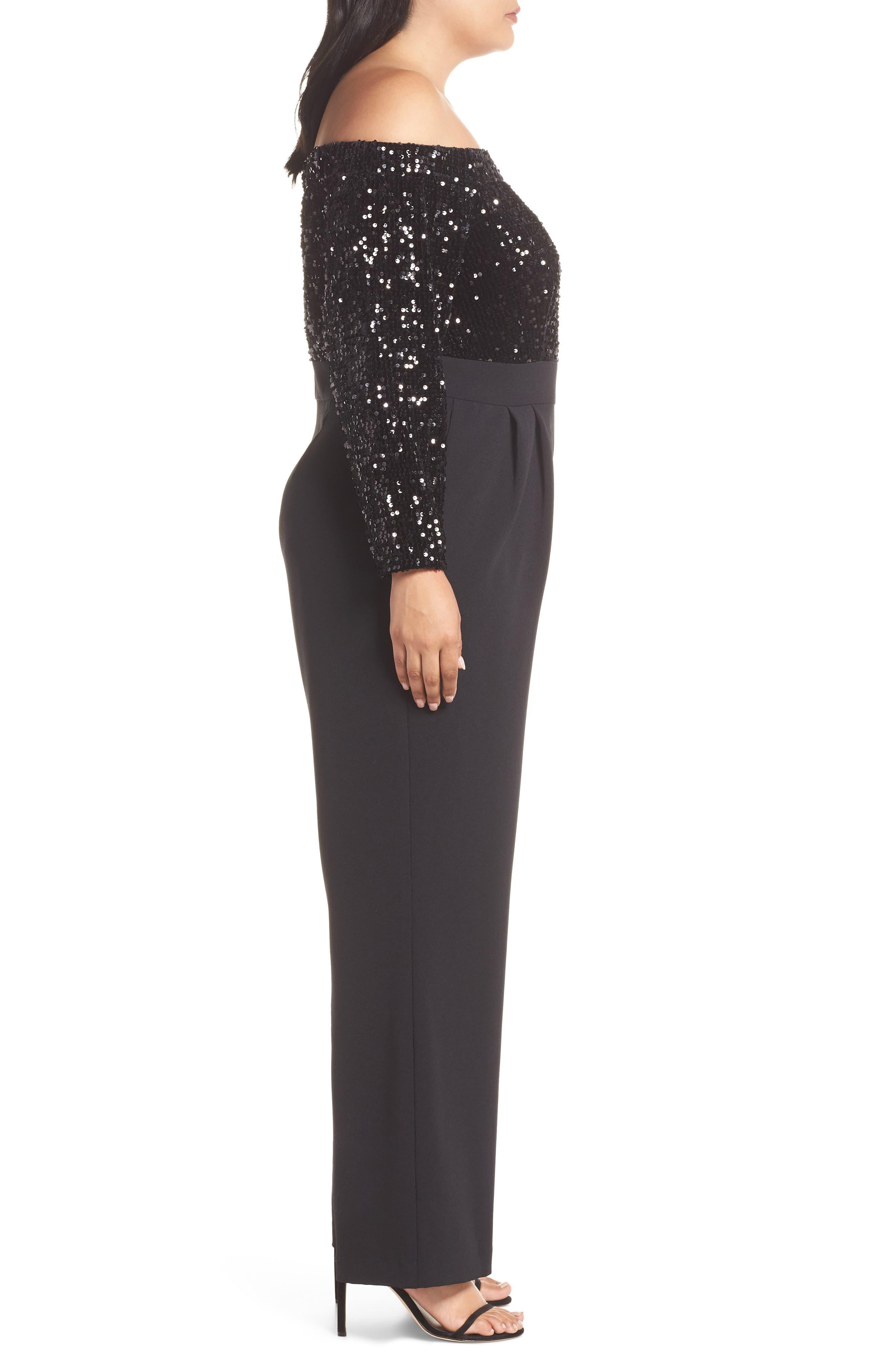 Off the Shoulder Sequin Velvet & Crepe Jumpsuit,                             Alternate thumbnail 3, color,                             BLACK
