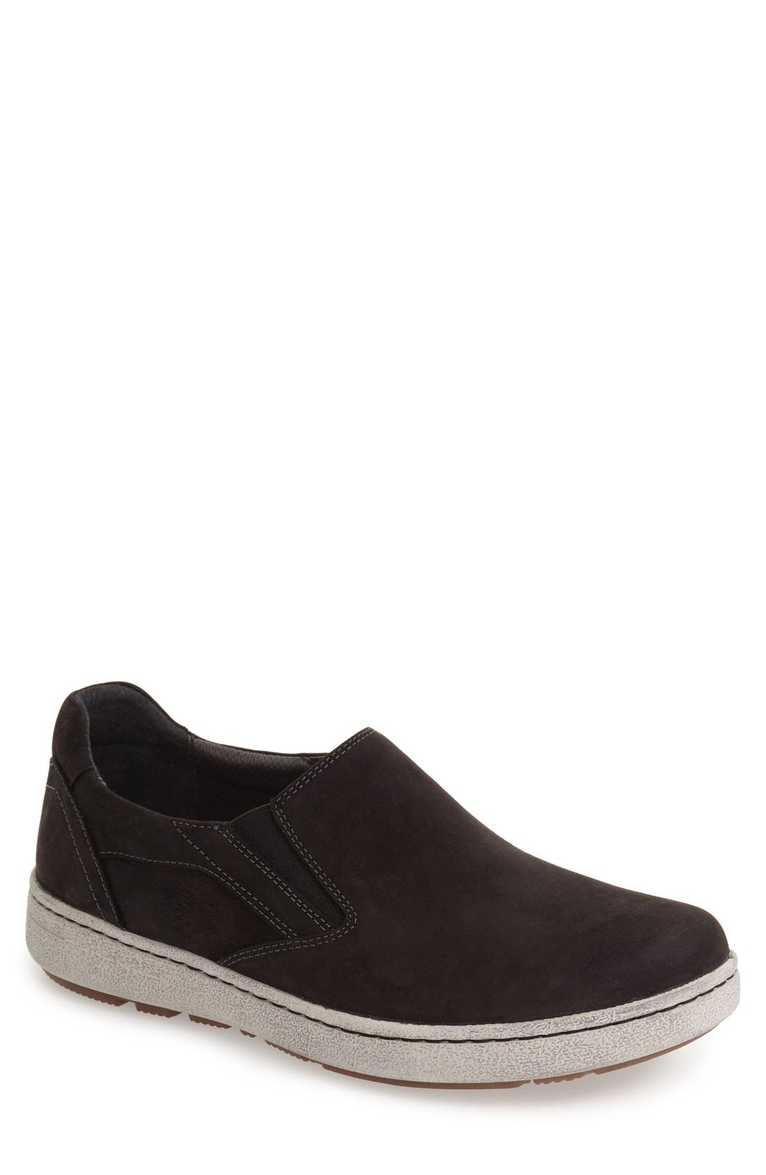 'Viktor' Water Resistant Slip-On Sneaker,                             Main thumbnail 1, color,                             BLACK MILLED NUBUCK LEATHER