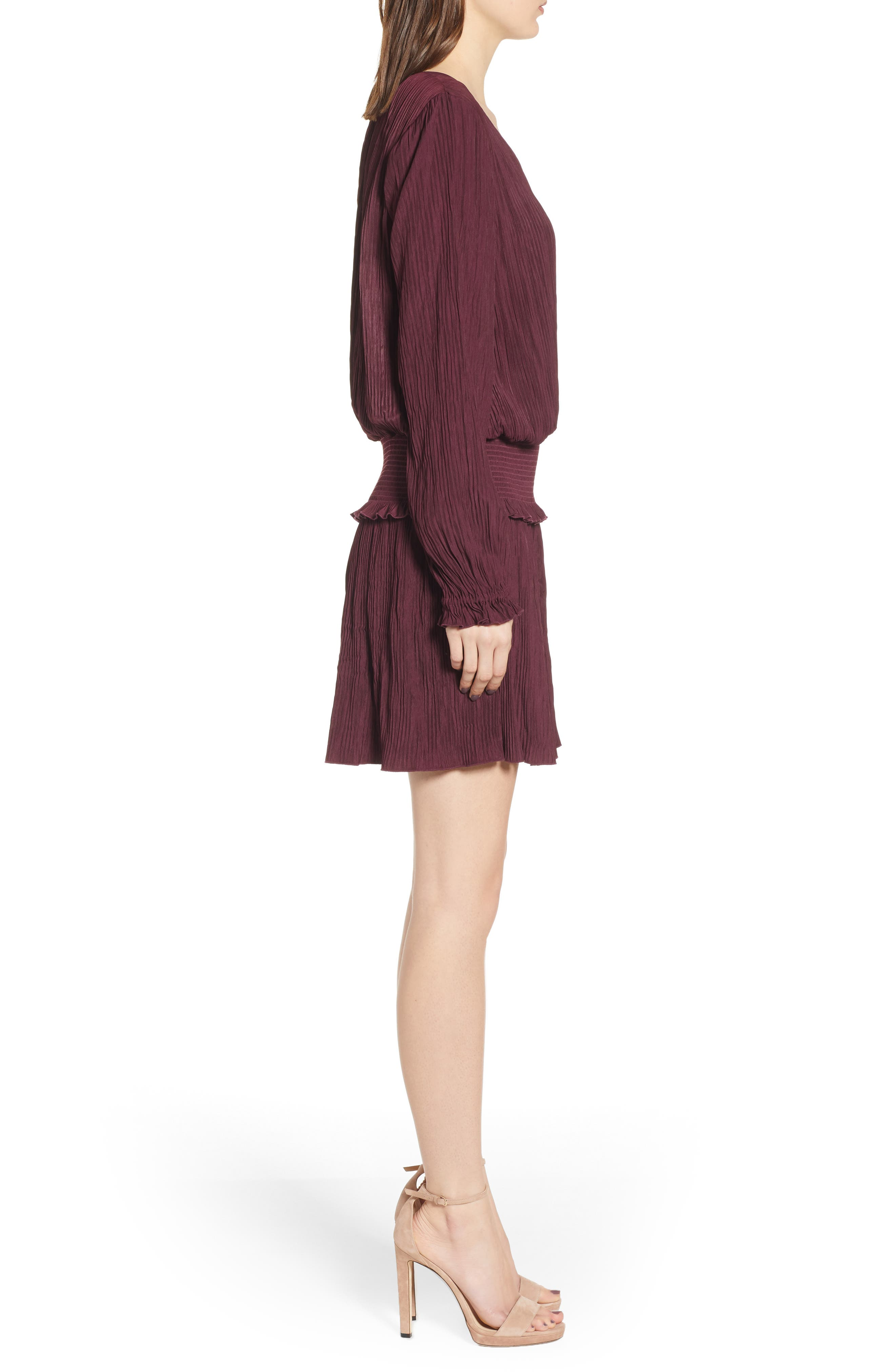 CHELSEA28, Smock Waist Crinkle Dress, Alternate thumbnail 4, color, BURGUNDY STEM