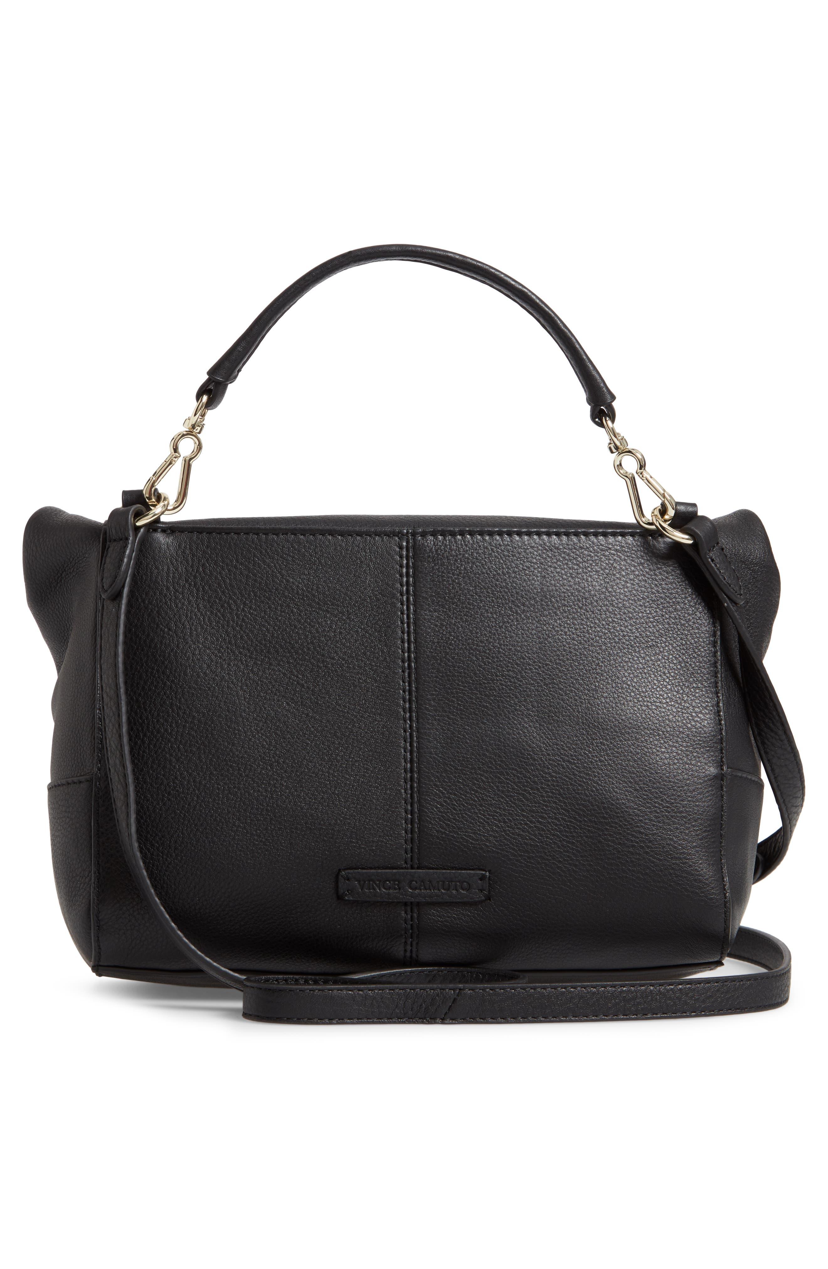 Leather Crossbody Bag,                             Alternate thumbnail 3, color,                             BLACK