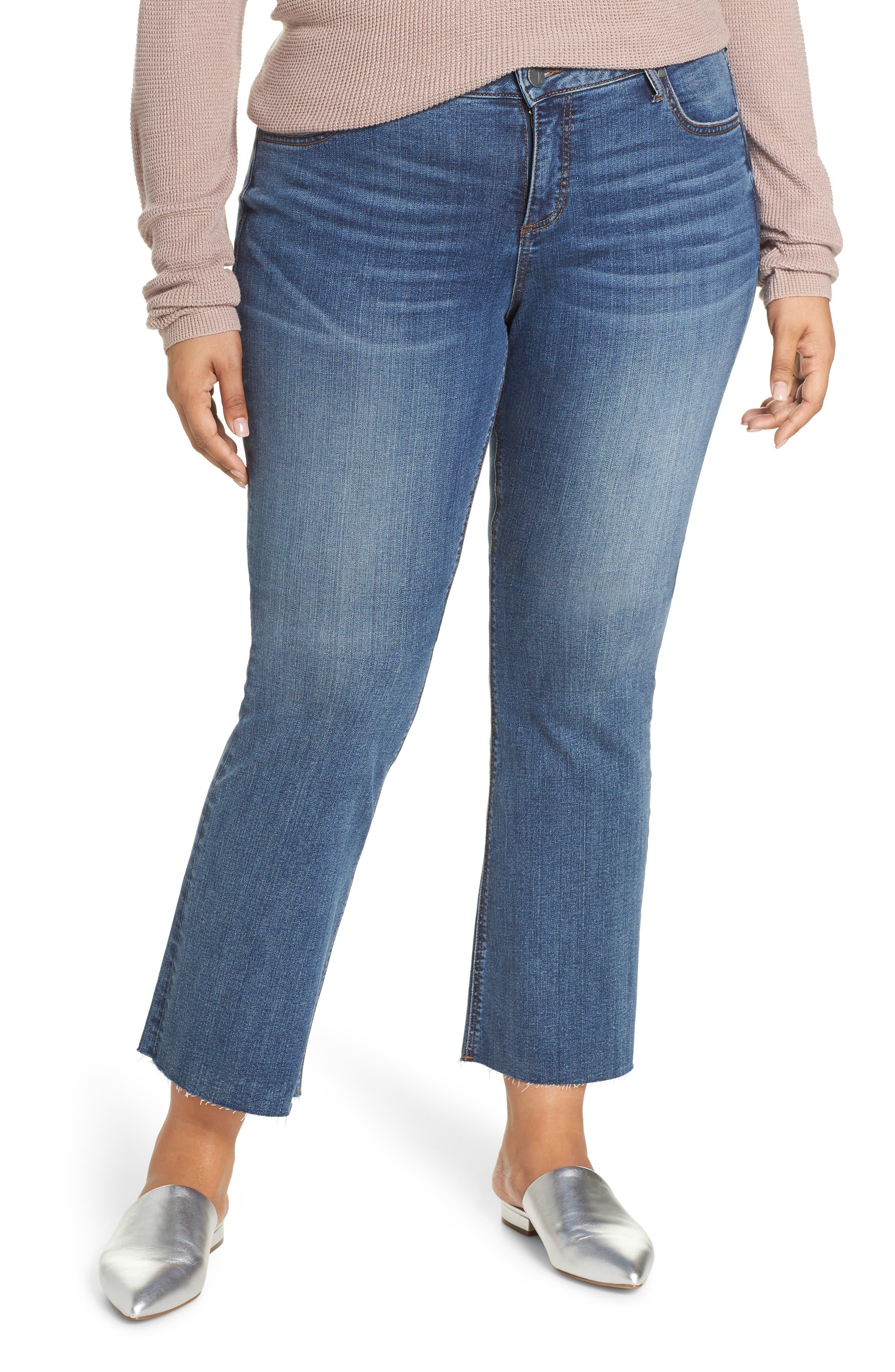 Plus Size Kut From The Kloth Stella Kick Flare Raw Hem Jeans, Blue