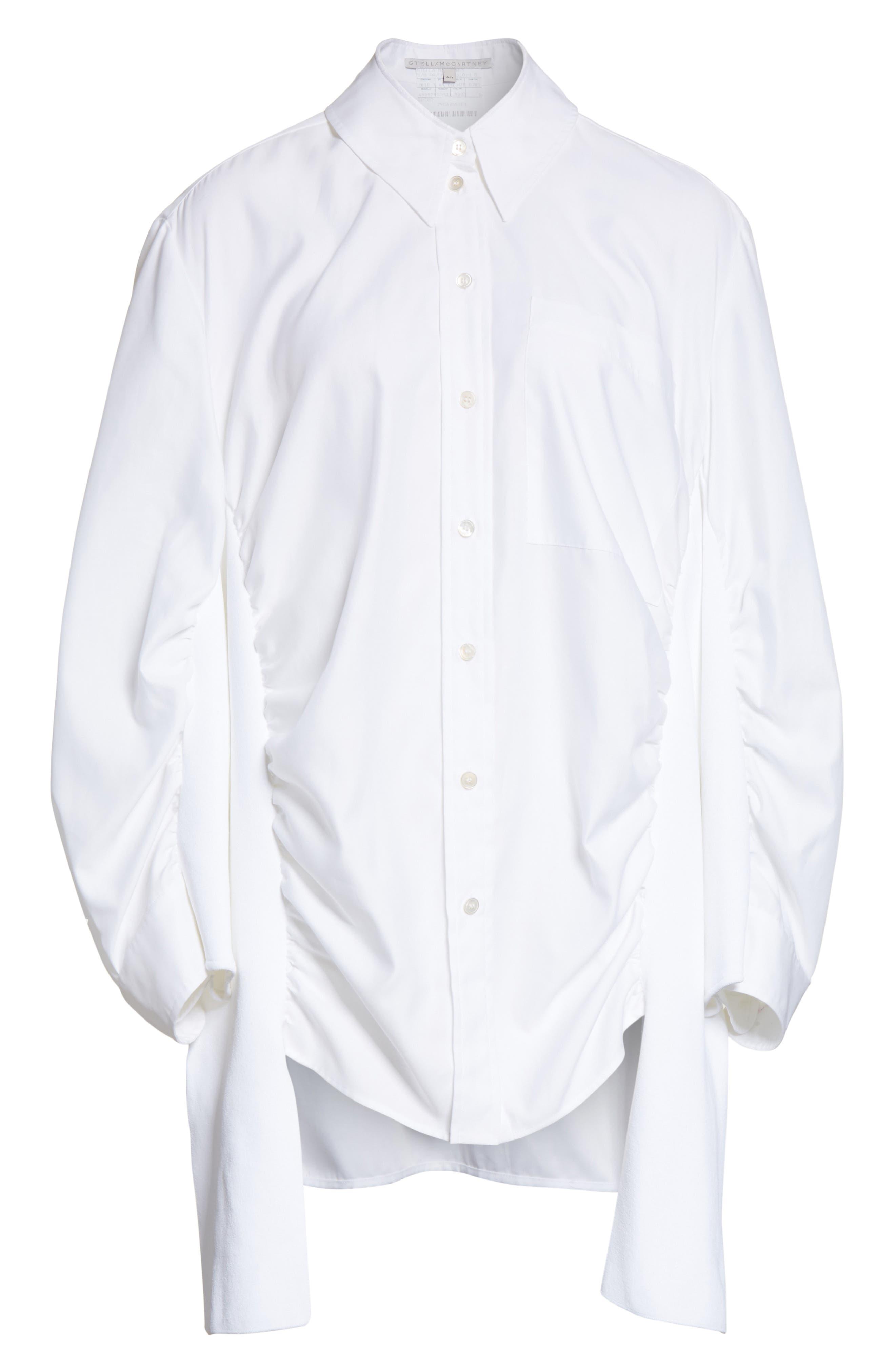 Tape Detail Cotton Shirt,                             Alternate thumbnail 6, color,                             100