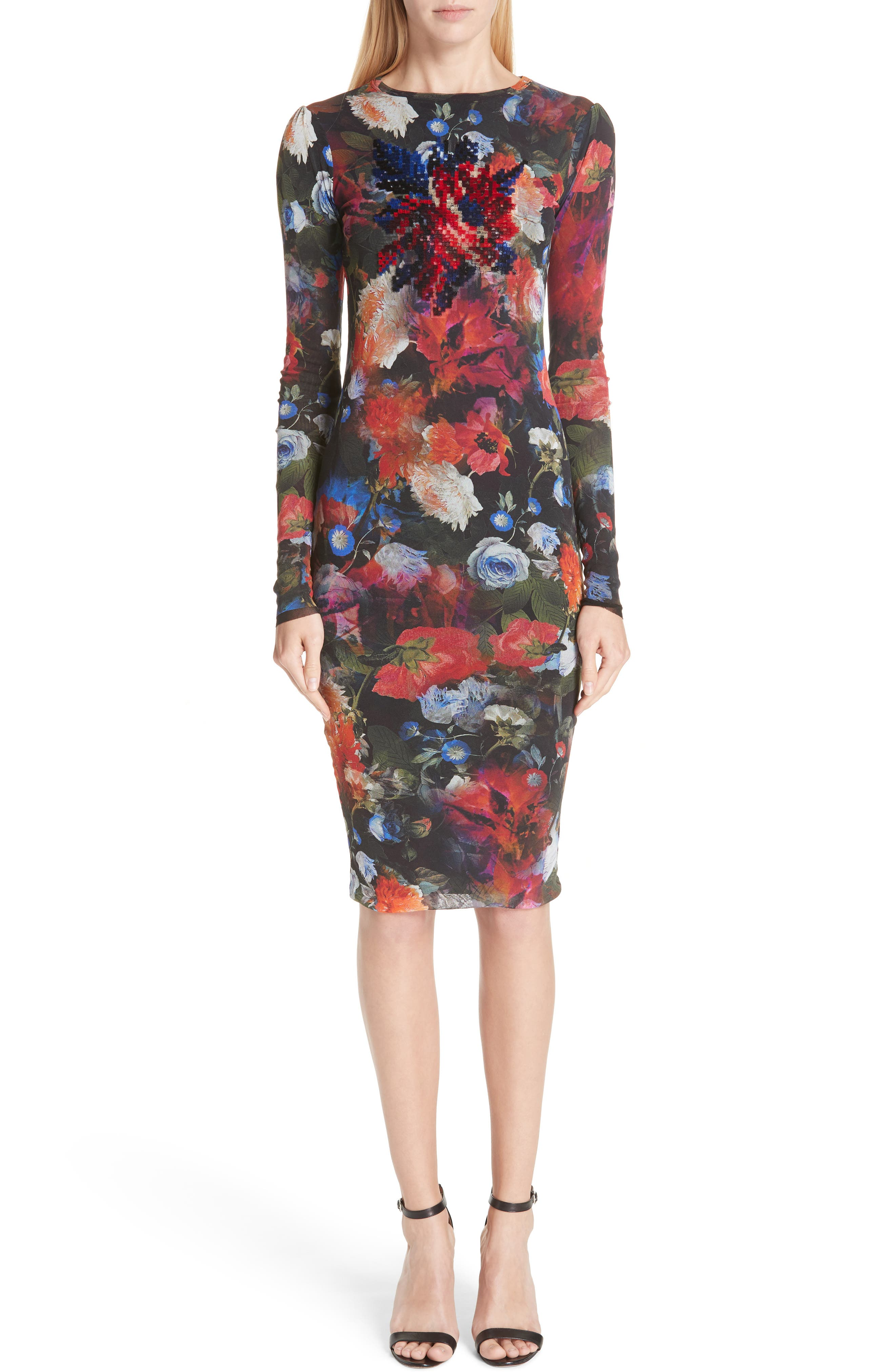 Fuzzi Embroidered Floral Print Tulle Dress, Red
