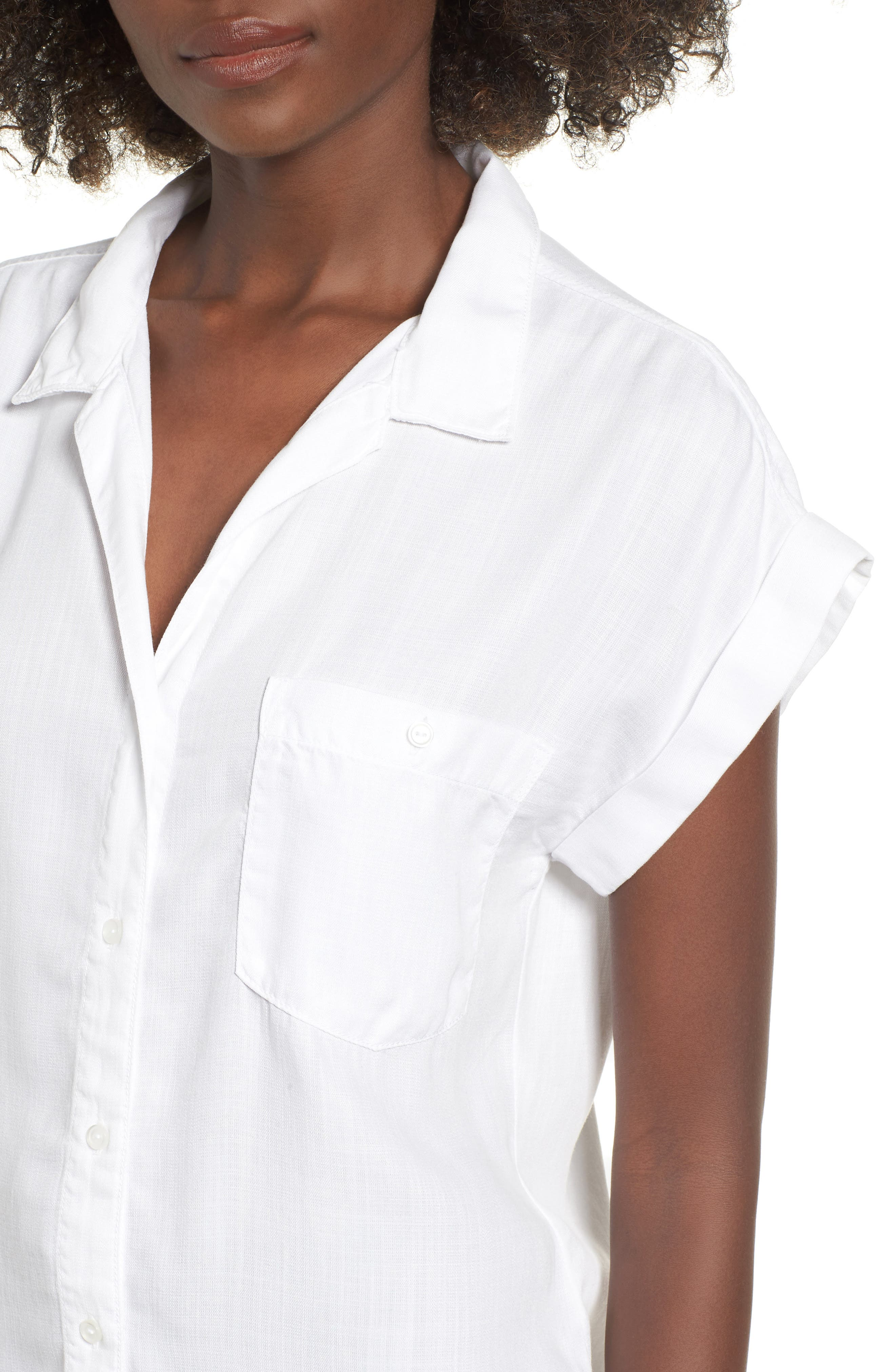 Cap Sleeve Shirt,                             Alternate thumbnail 4, color,                             WHITE