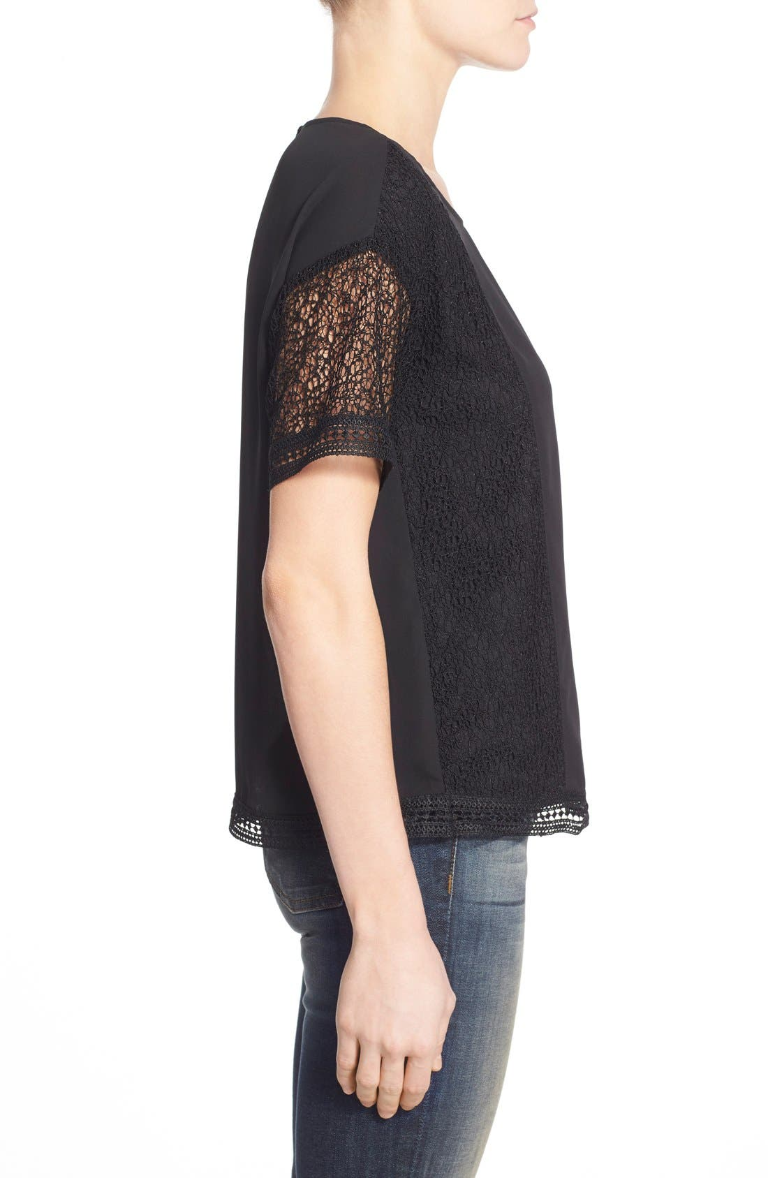 Lace Inset Short Sleeve Top,                             Alternate thumbnail 5, color,                             001