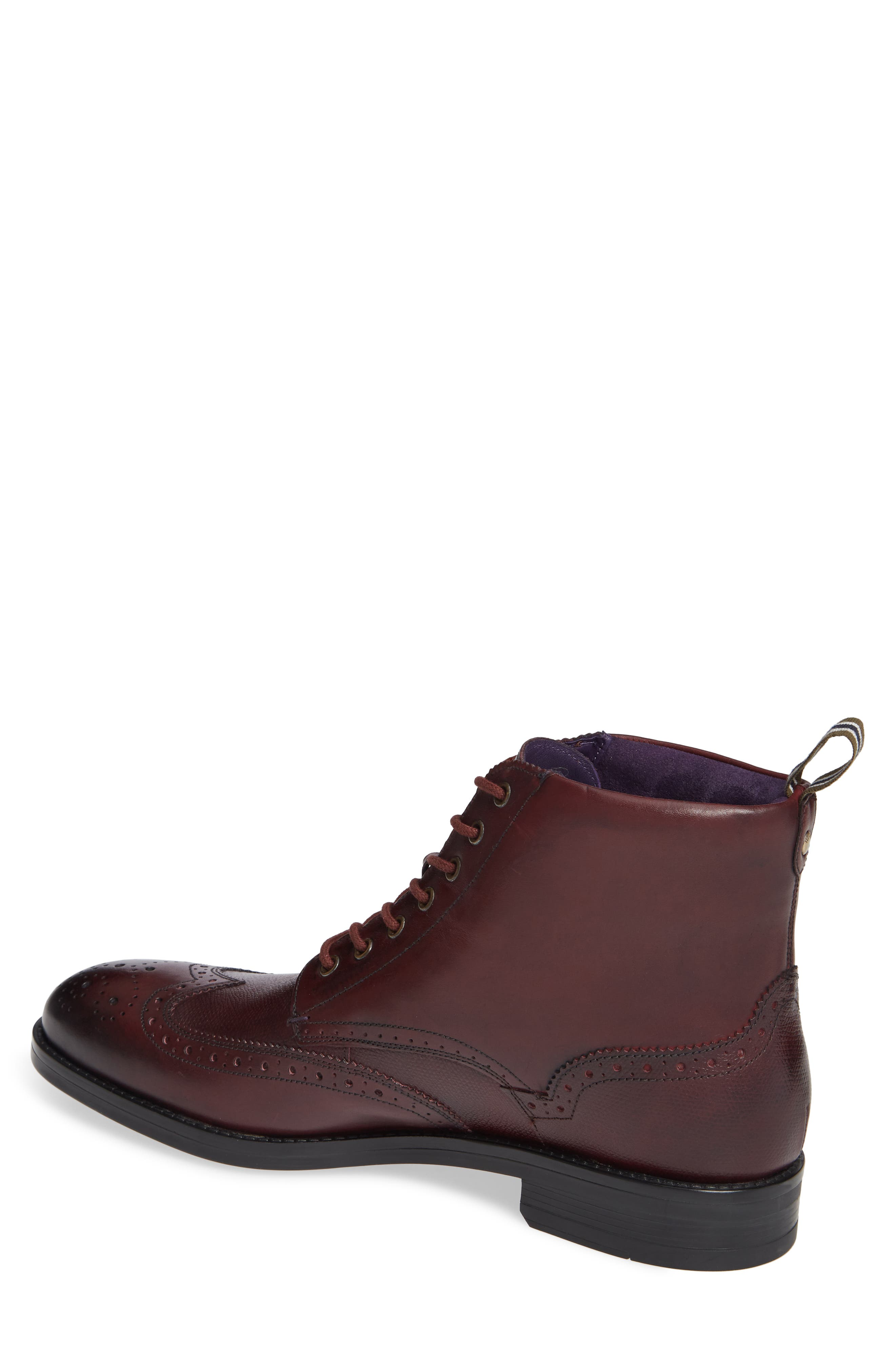 Brogue Ankle Boot,                             Alternate thumbnail 2, color,                             DARK RED LEATHER