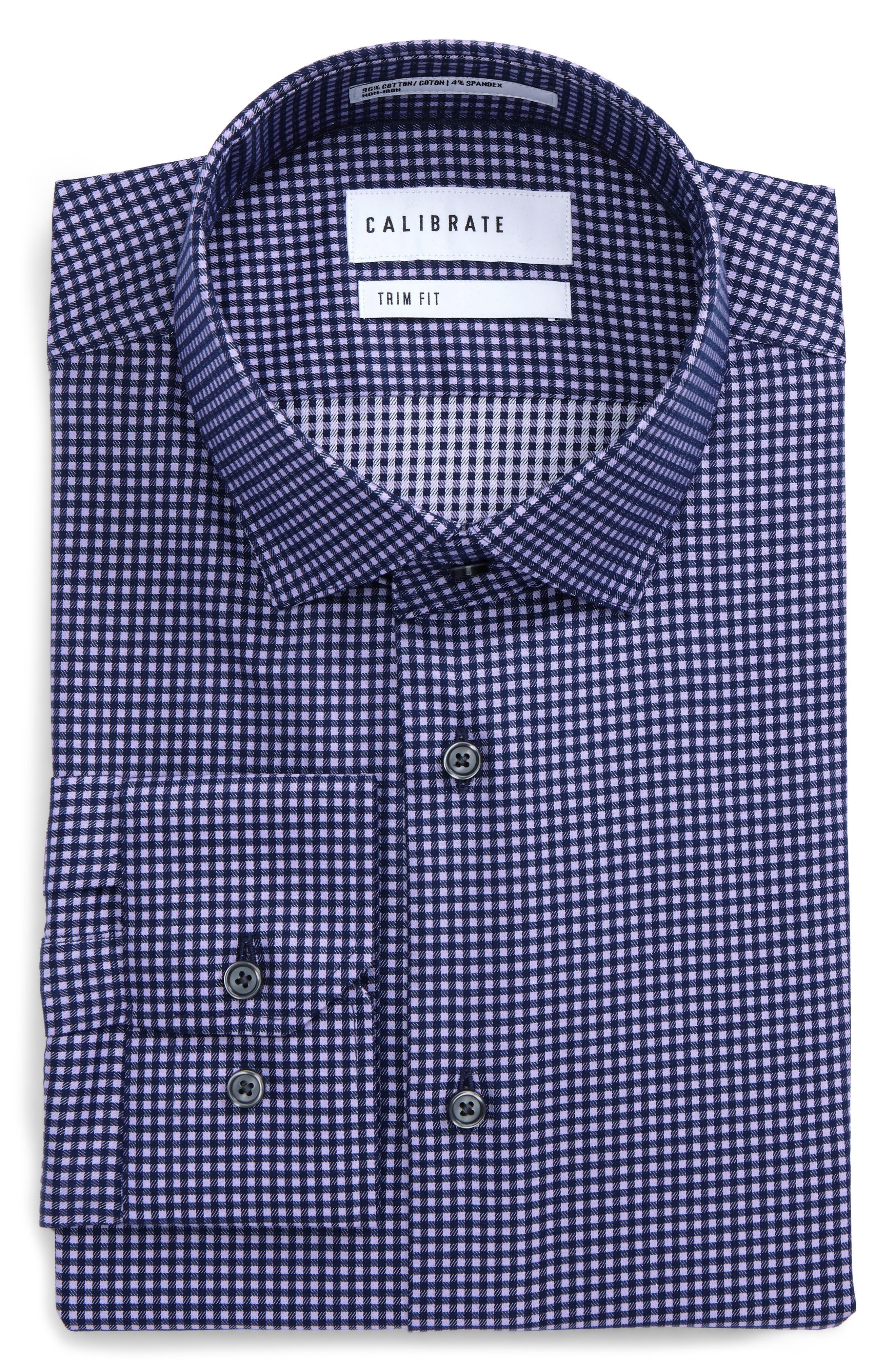 Trim Fit Stretch Check Dress Shirt,                         Main,                         color, 420