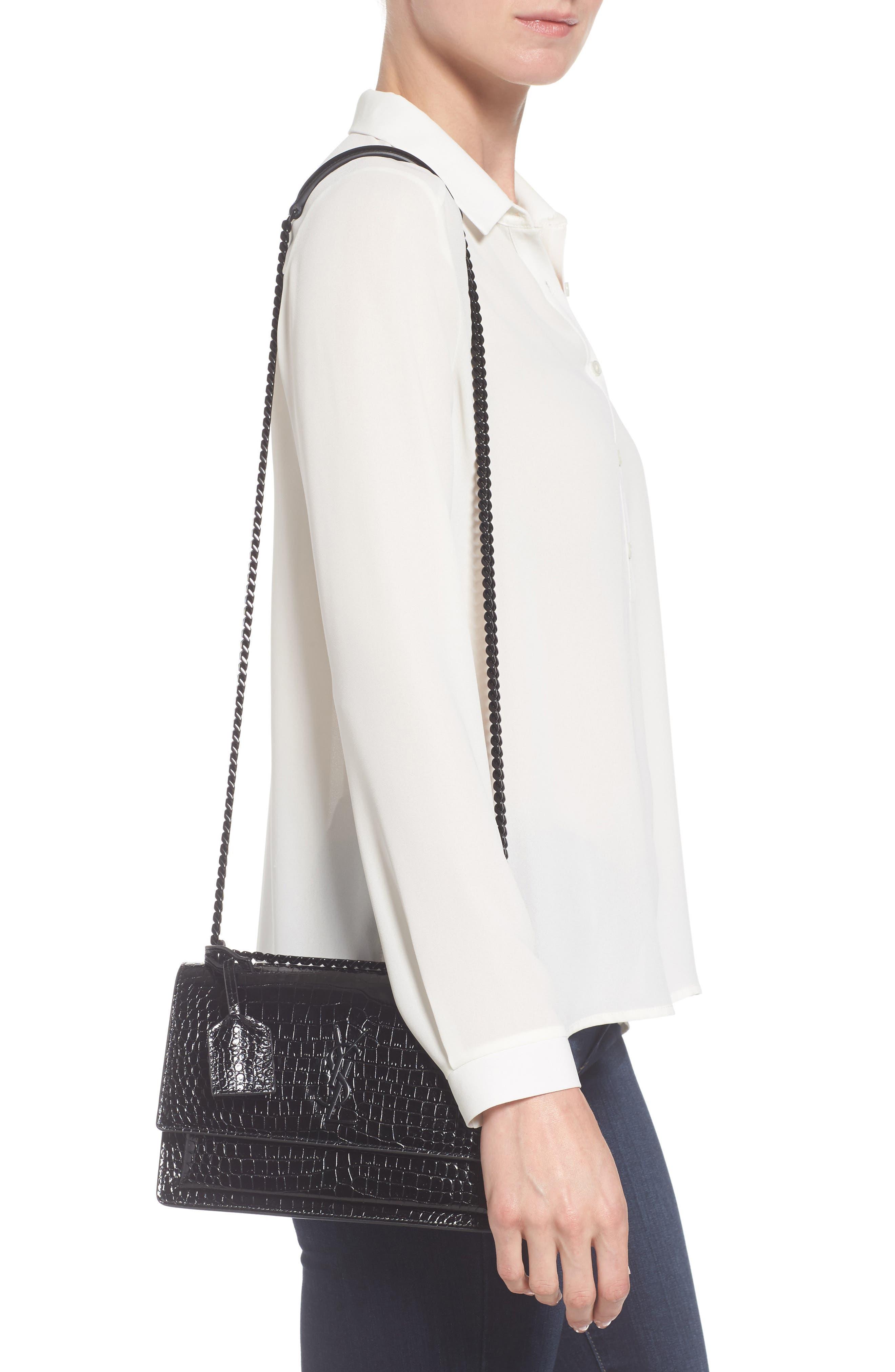 Medium Sunset Croc Embossed Leather Shoulder Bag,                             Alternate thumbnail 2, color,                             001