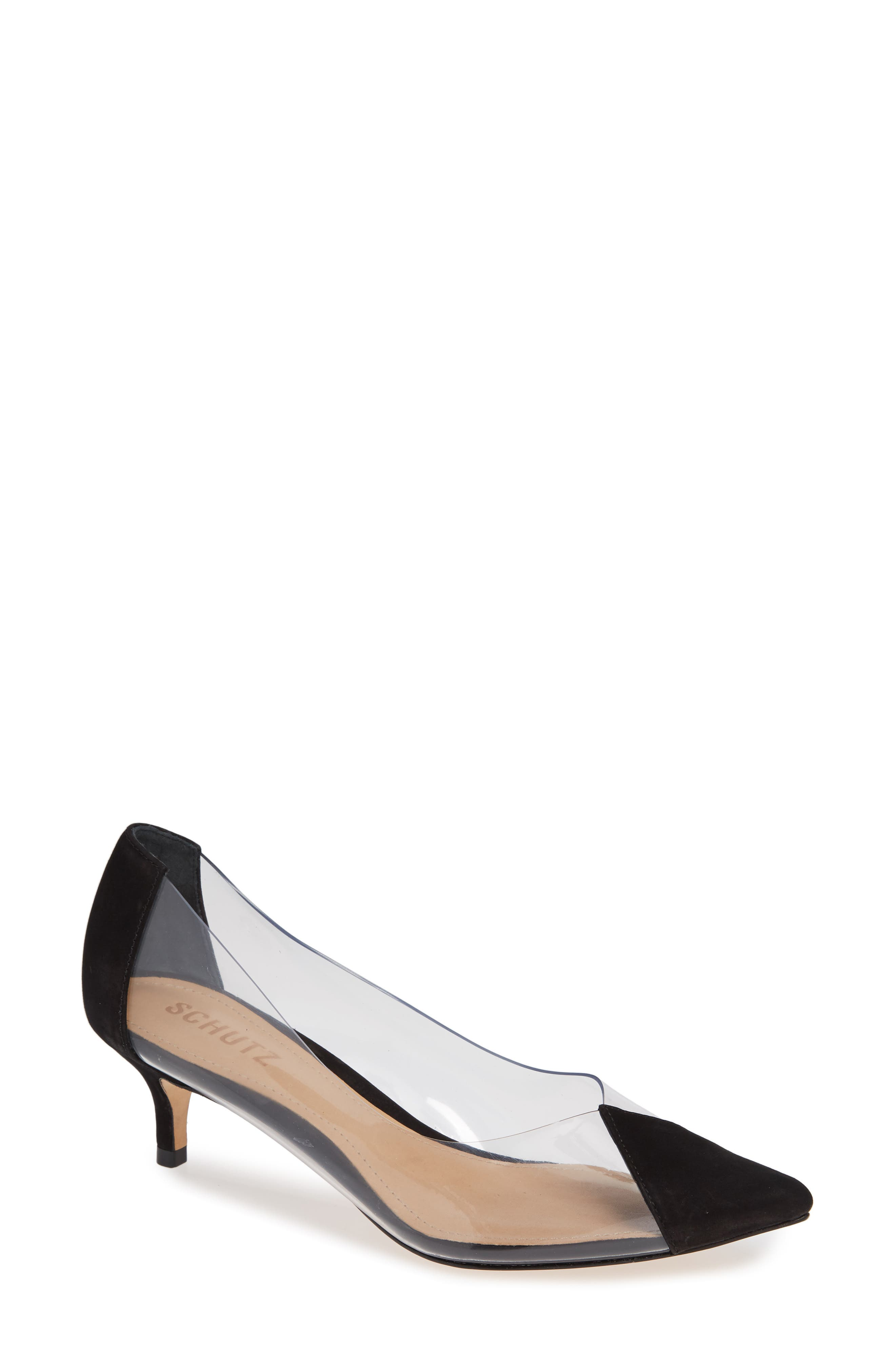 SCHUTZ Cyou Clear Pointy Toe Pump, Main, color, BLACK