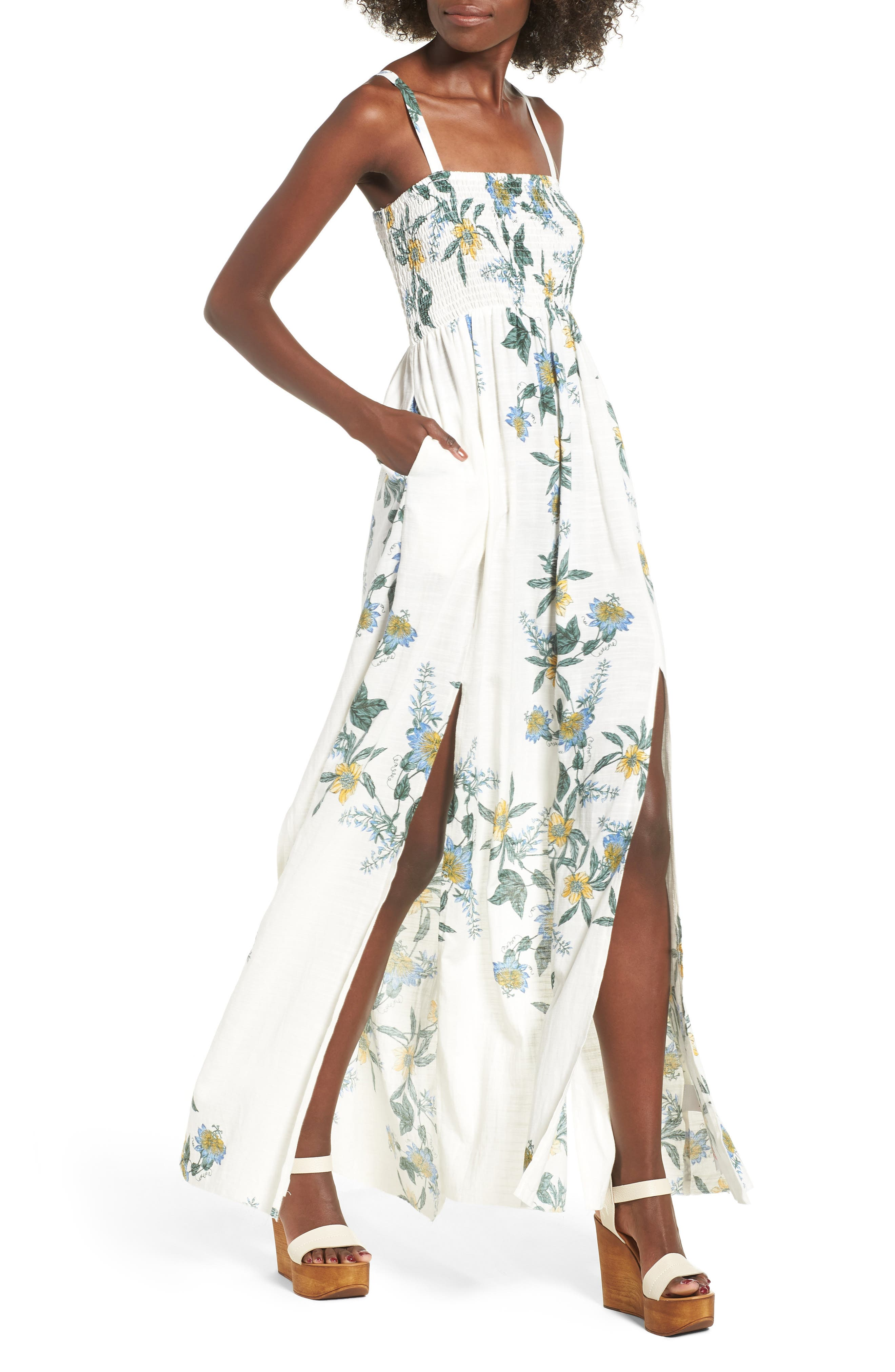 SOMEDAYS LOVIN Luscious Lands Slit Hem Maxi Dress, Main, color, 100