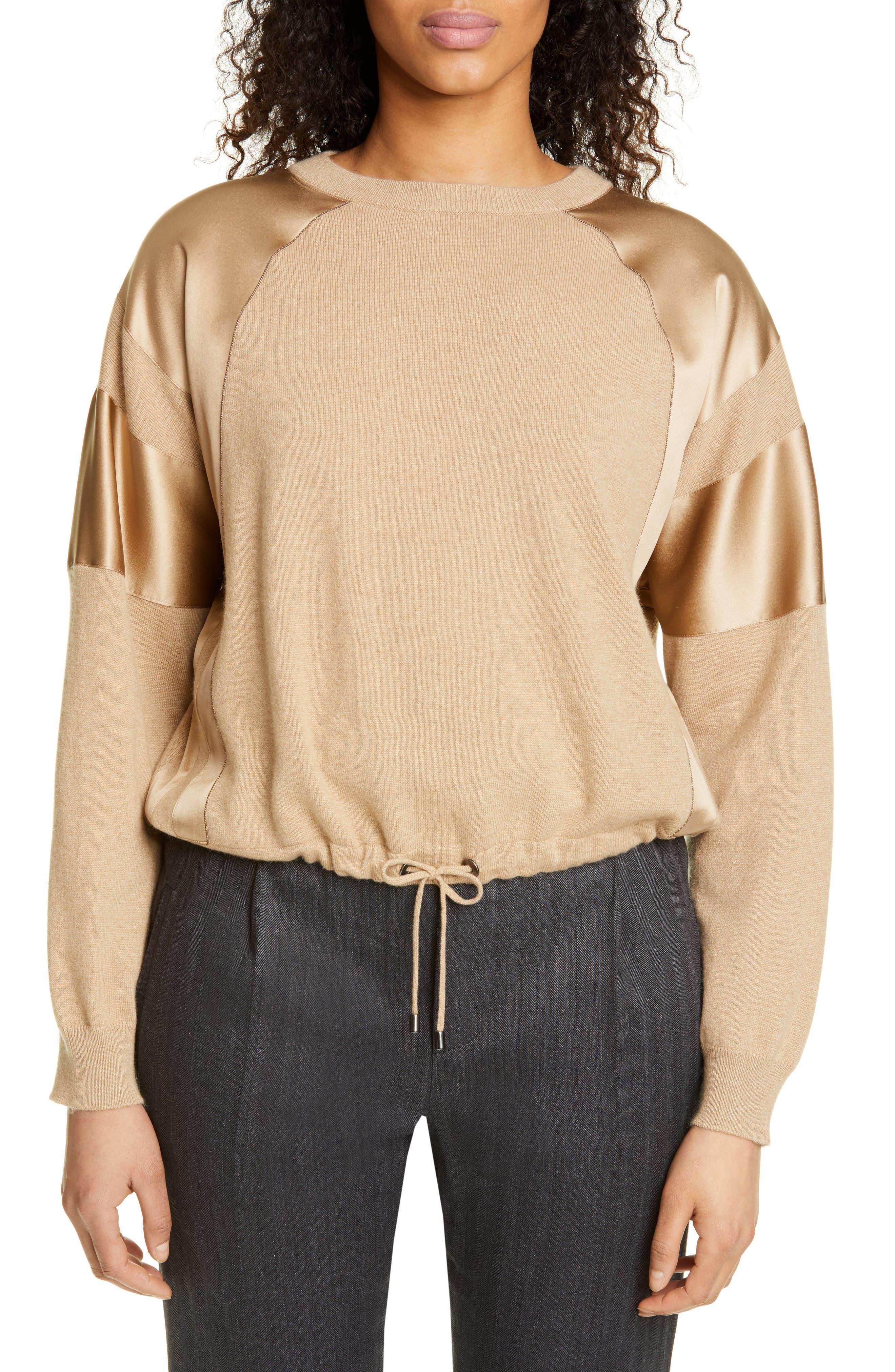Brunello Cucinelli Satin Trim Cashmere Sweater, Brown