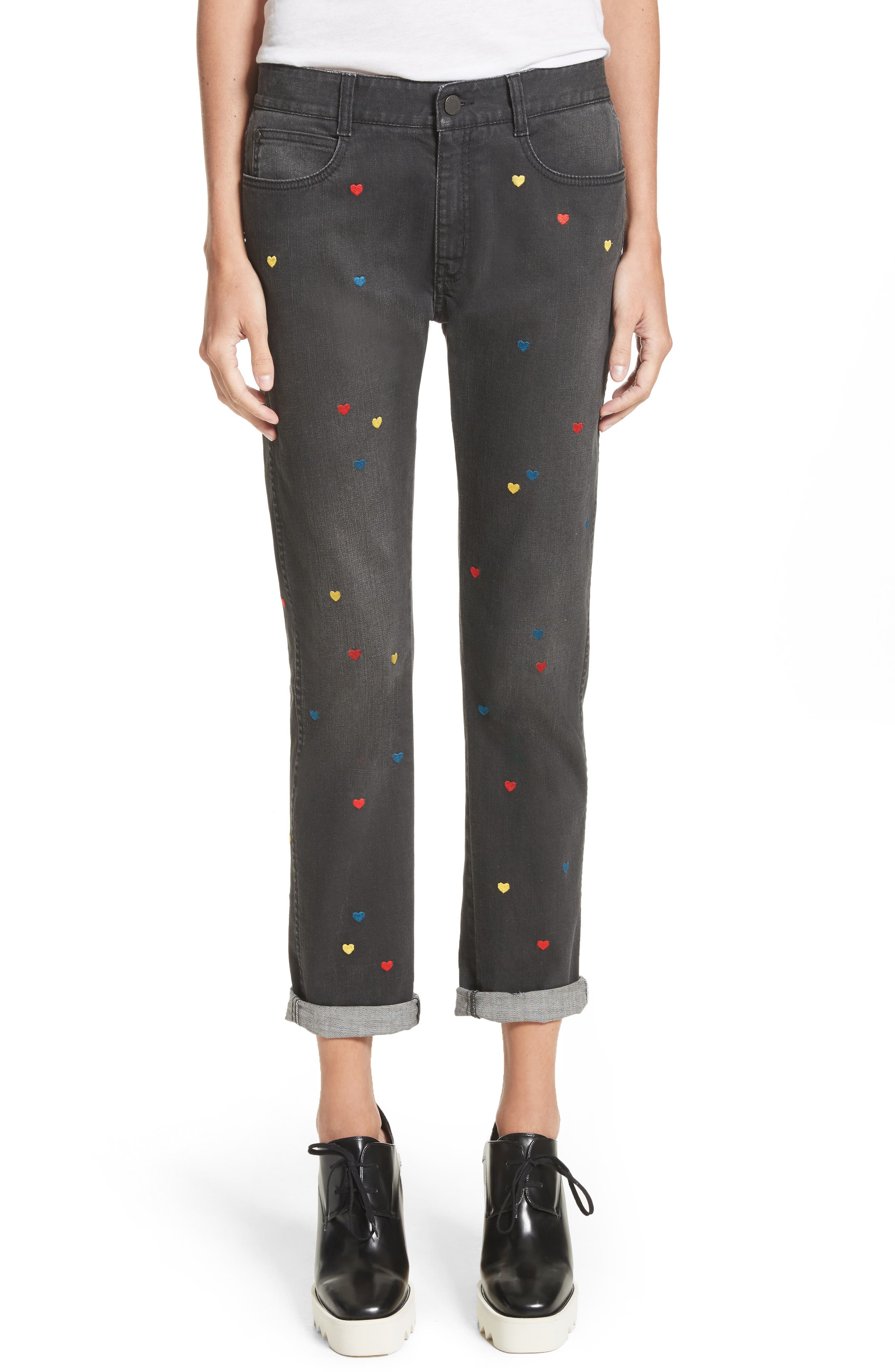 Heart Embroidered Skinny Boyfriend Jeans,                             Main thumbnail 1, color,                             001