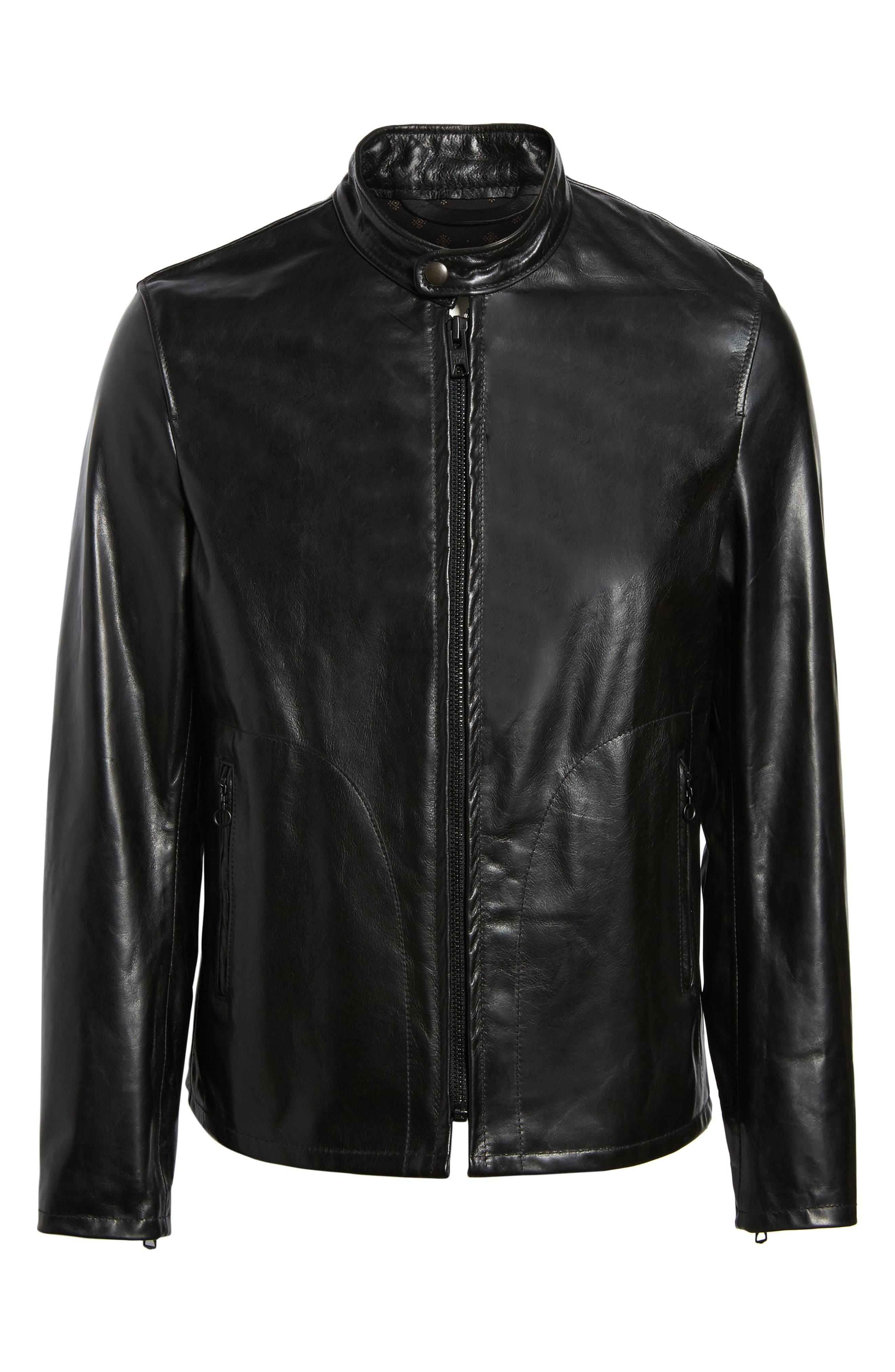 Café Racer Unlined Cowhide Leather Jacket,                             Alternate thumbnail 5, color,                             BLACK