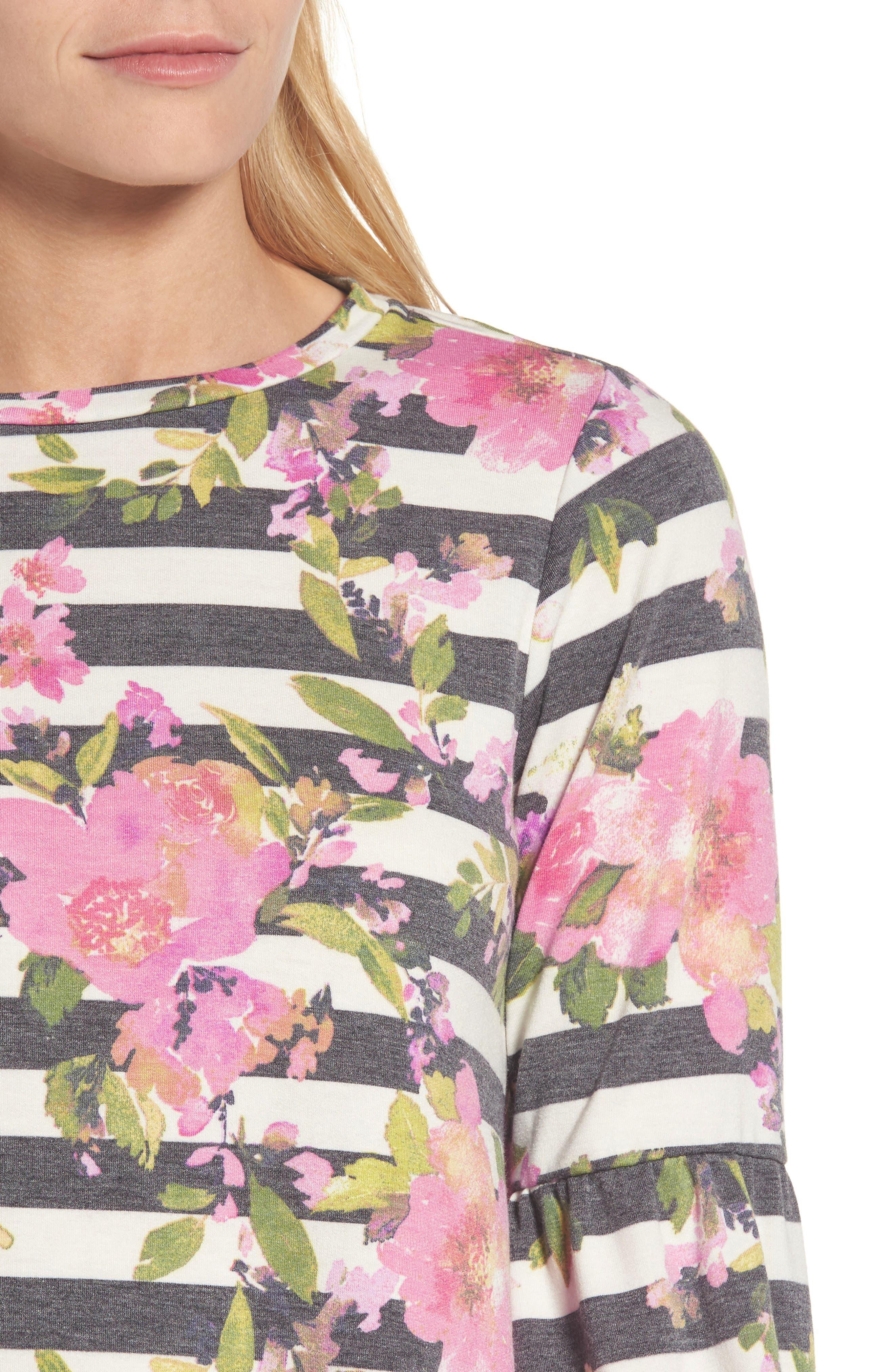 Floral Print Balloon Sleeve Sweatshirt,                             Alternate thumbnail 4, color,                             002