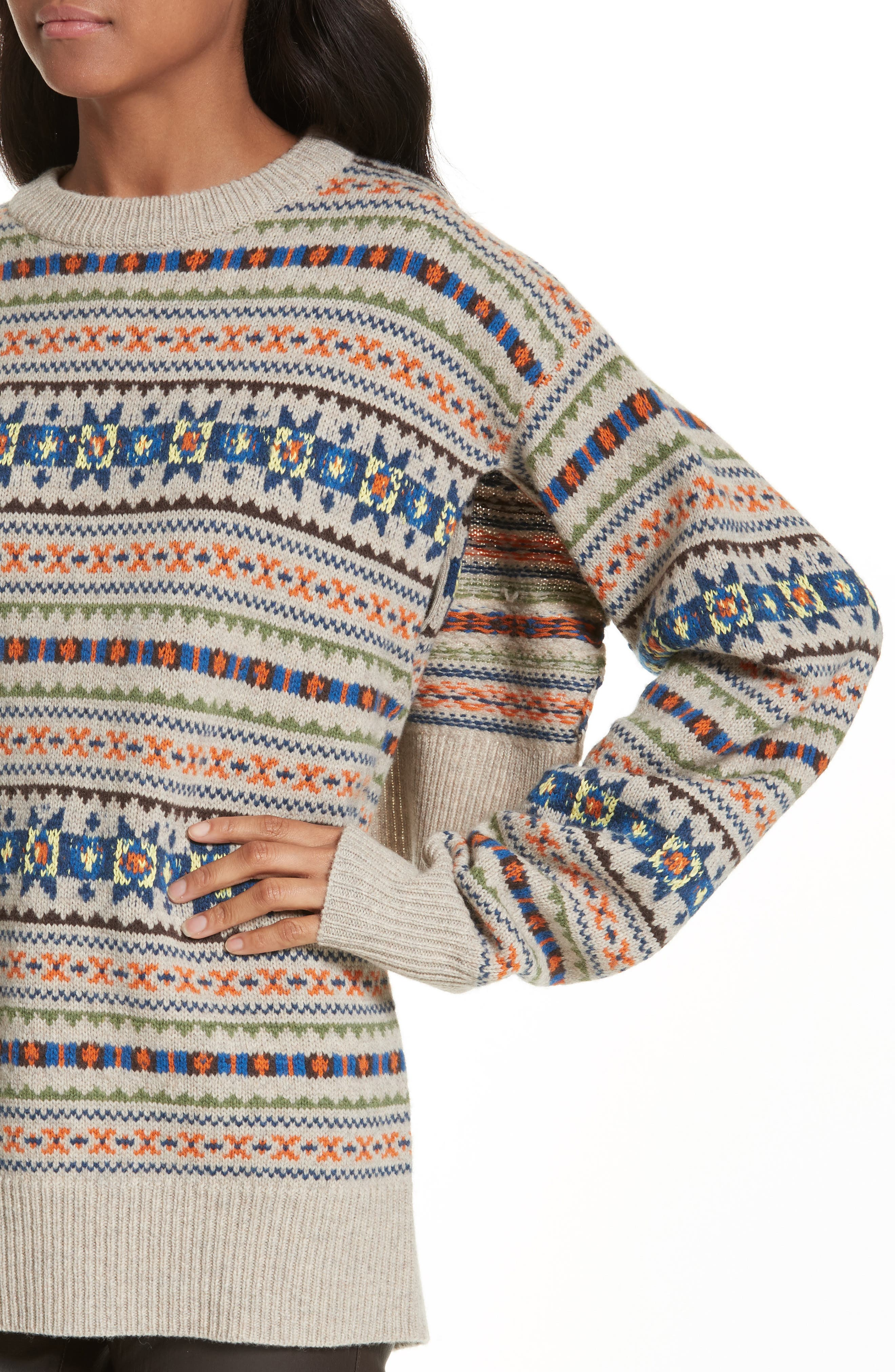 Double Layer Fair Isle Sweater,                             Alternate thumbnail 4, color,