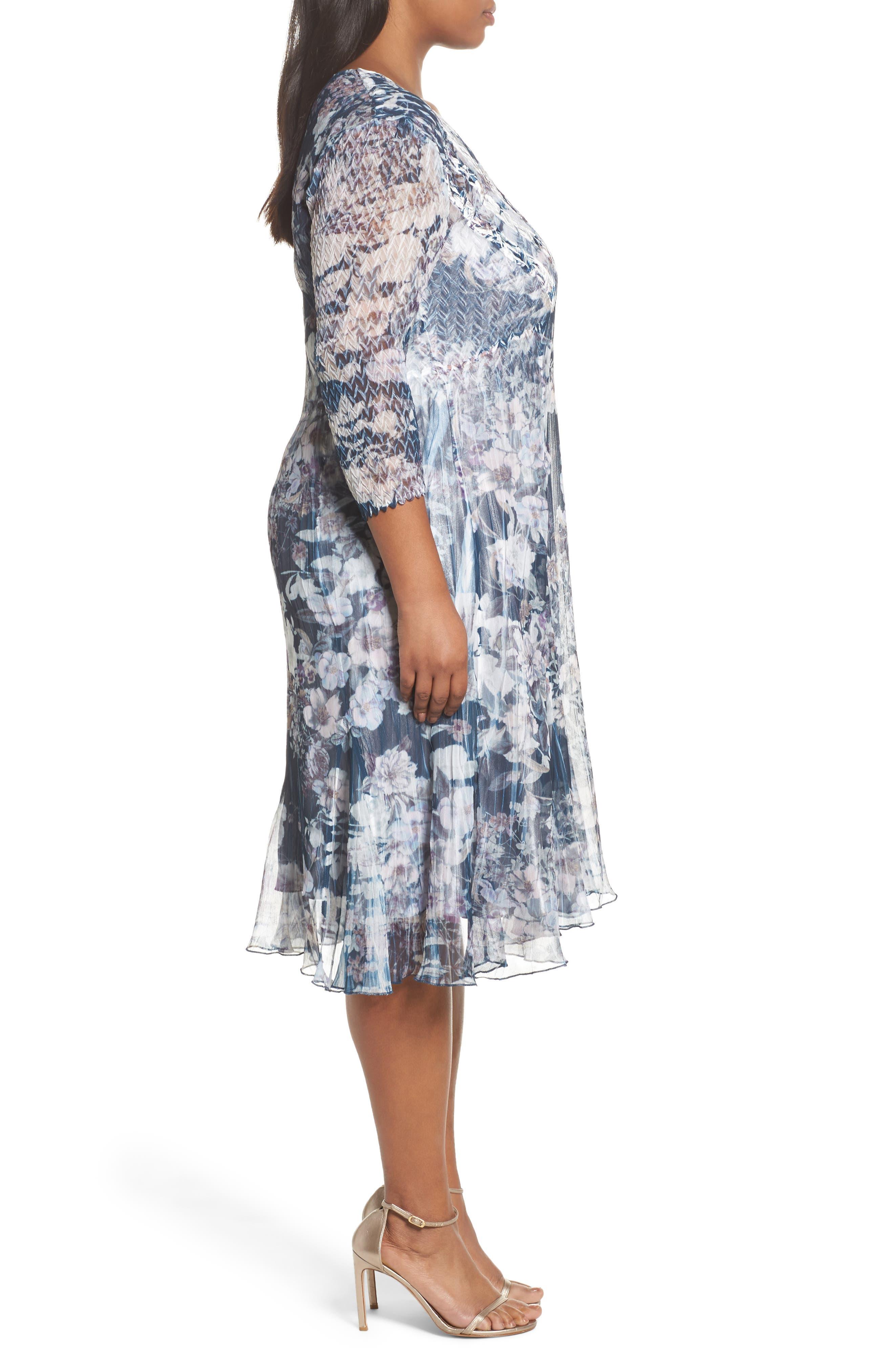 Floral Print V-Neck Dress,                             Alternate thumbnail 3, color,                             404