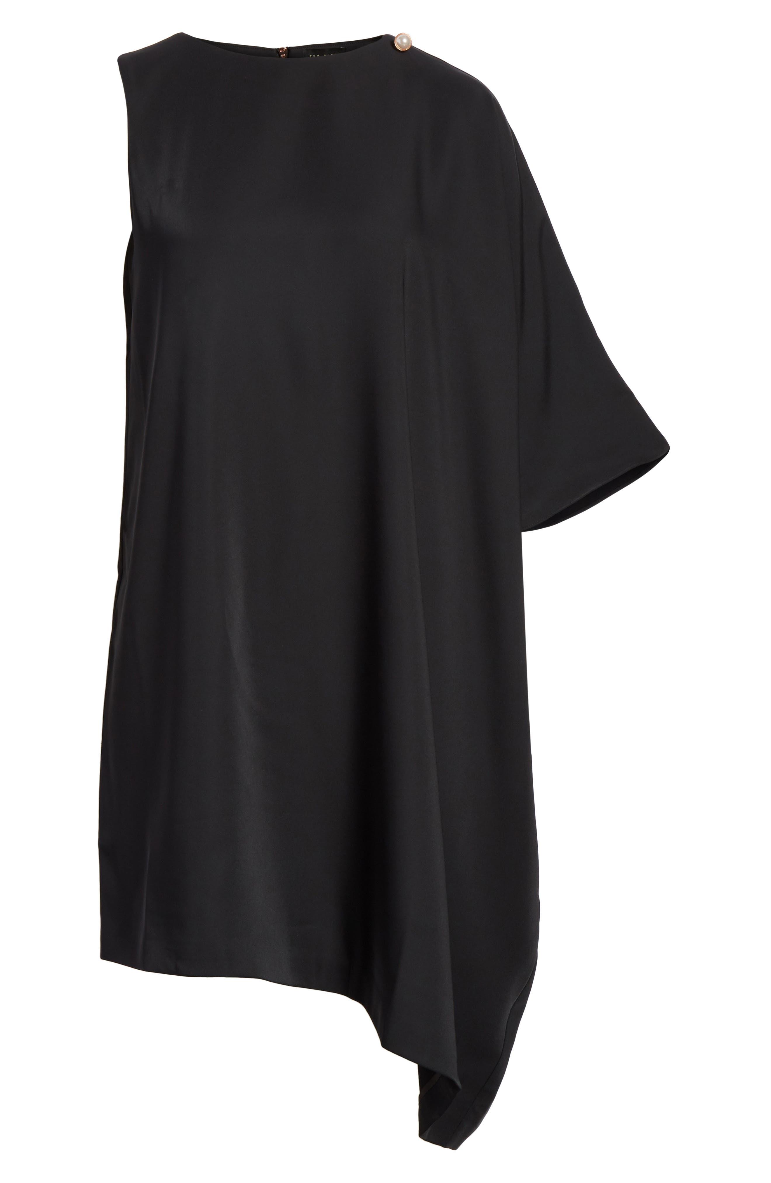 Oversize Drape Front Dress,                             Alternate thumbnail 6, color,                             001